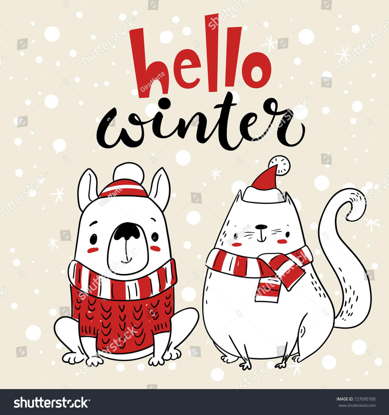 Vector Christmas Card Greeting Card Cartoon Stock Vector 727695700