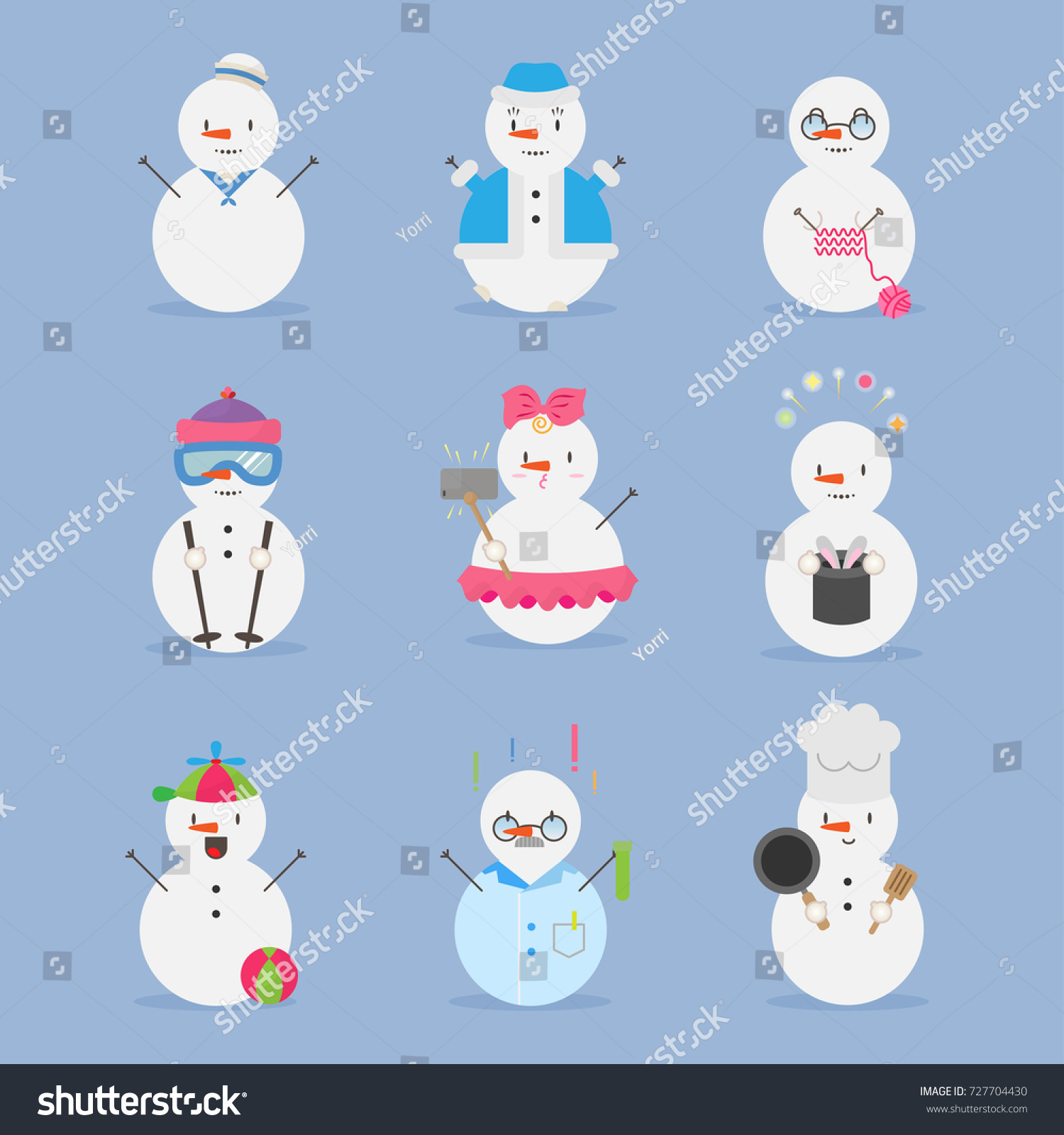 Snowman Character Emotion Kawaii Winter Christmas Stock Vector ...