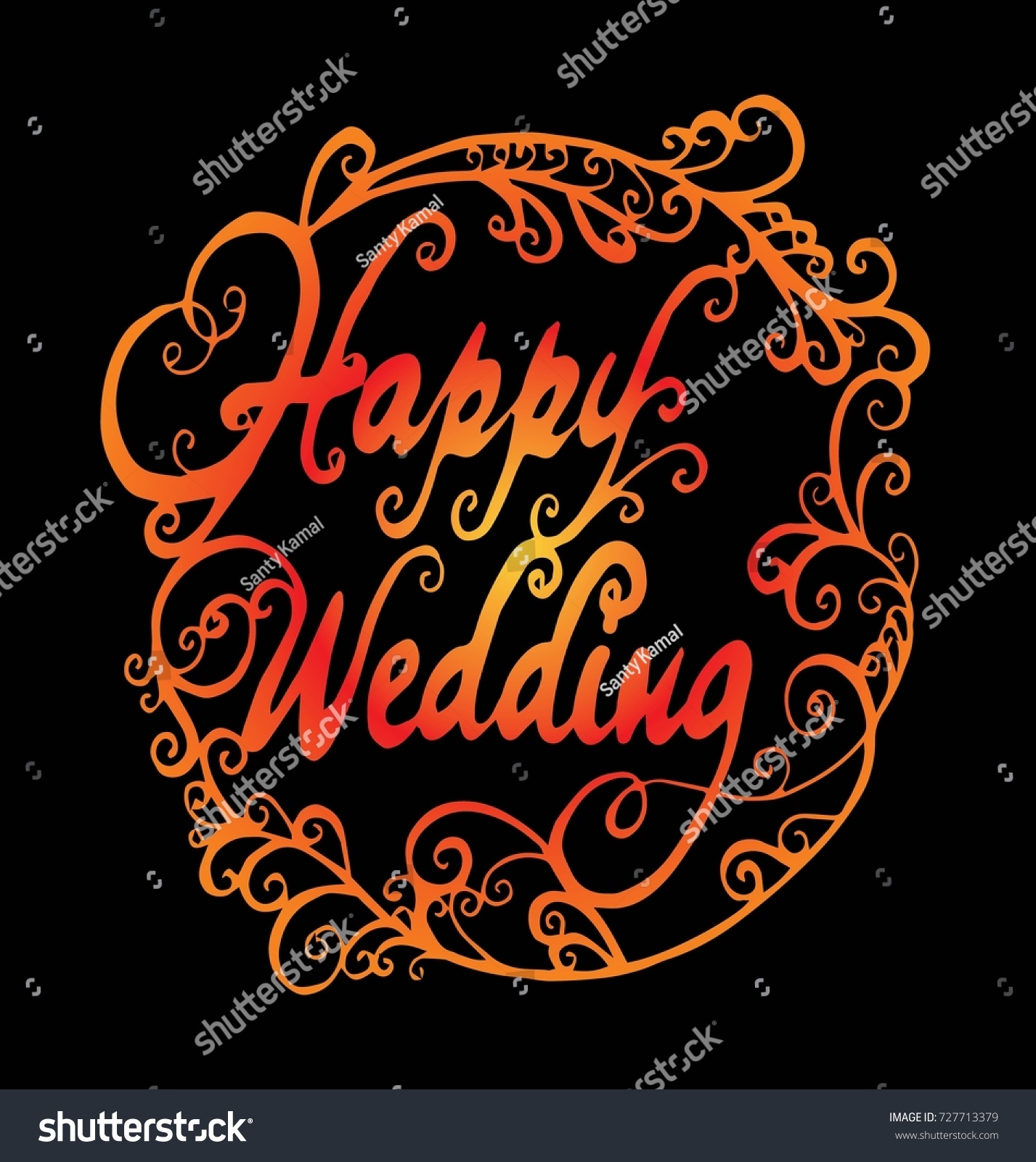 Happy Wedding Hand Lettering Text Calligraphy Stock Vector (Royalty ...