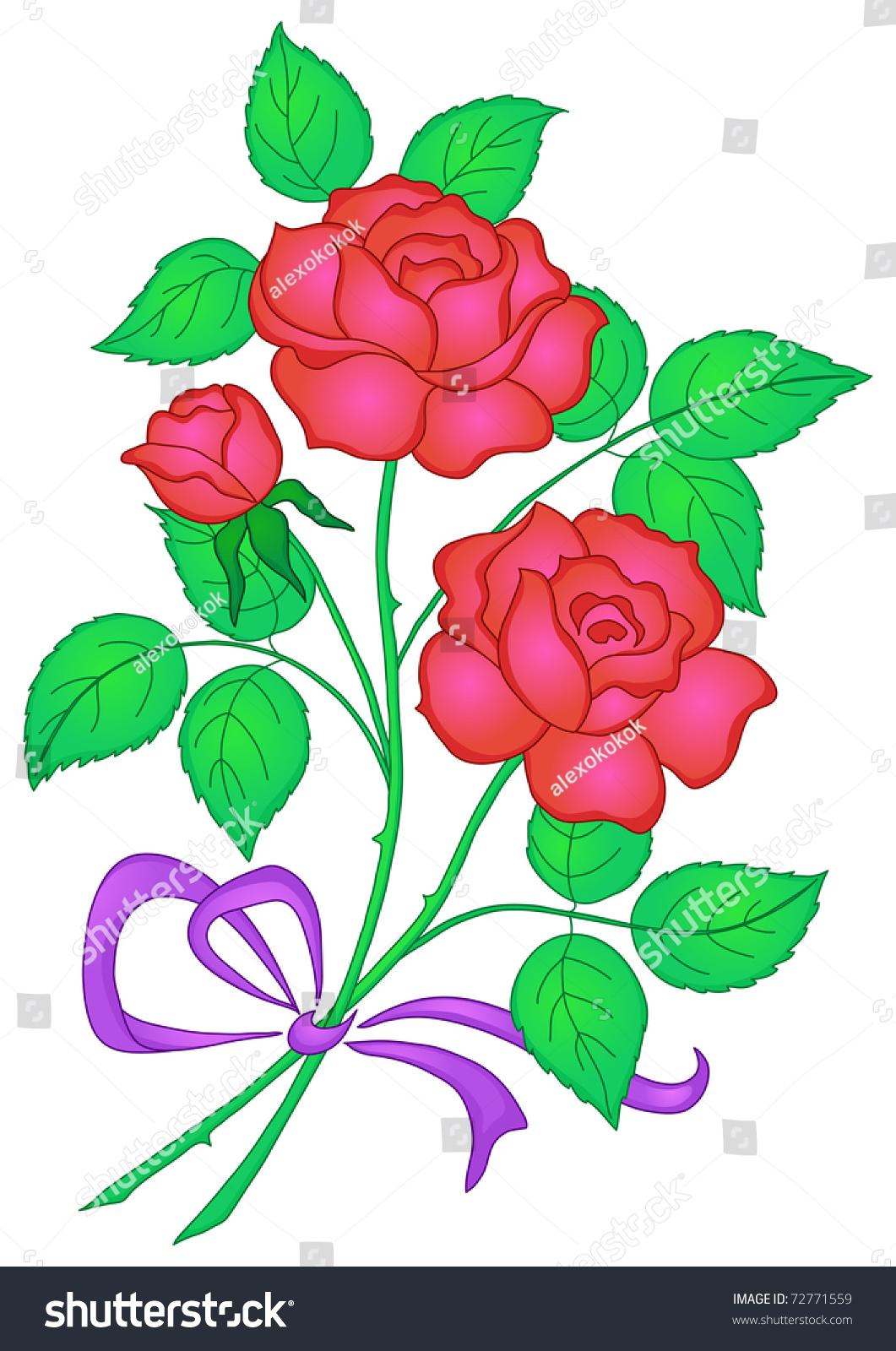 Flowers Rose Bouquet Love Symbol Floral Stock Illustration 72771559 ...