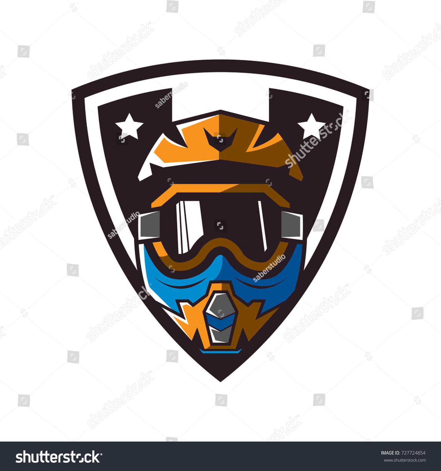 Motocross Helmet Badge Stock Vector Royalty Free 727724854