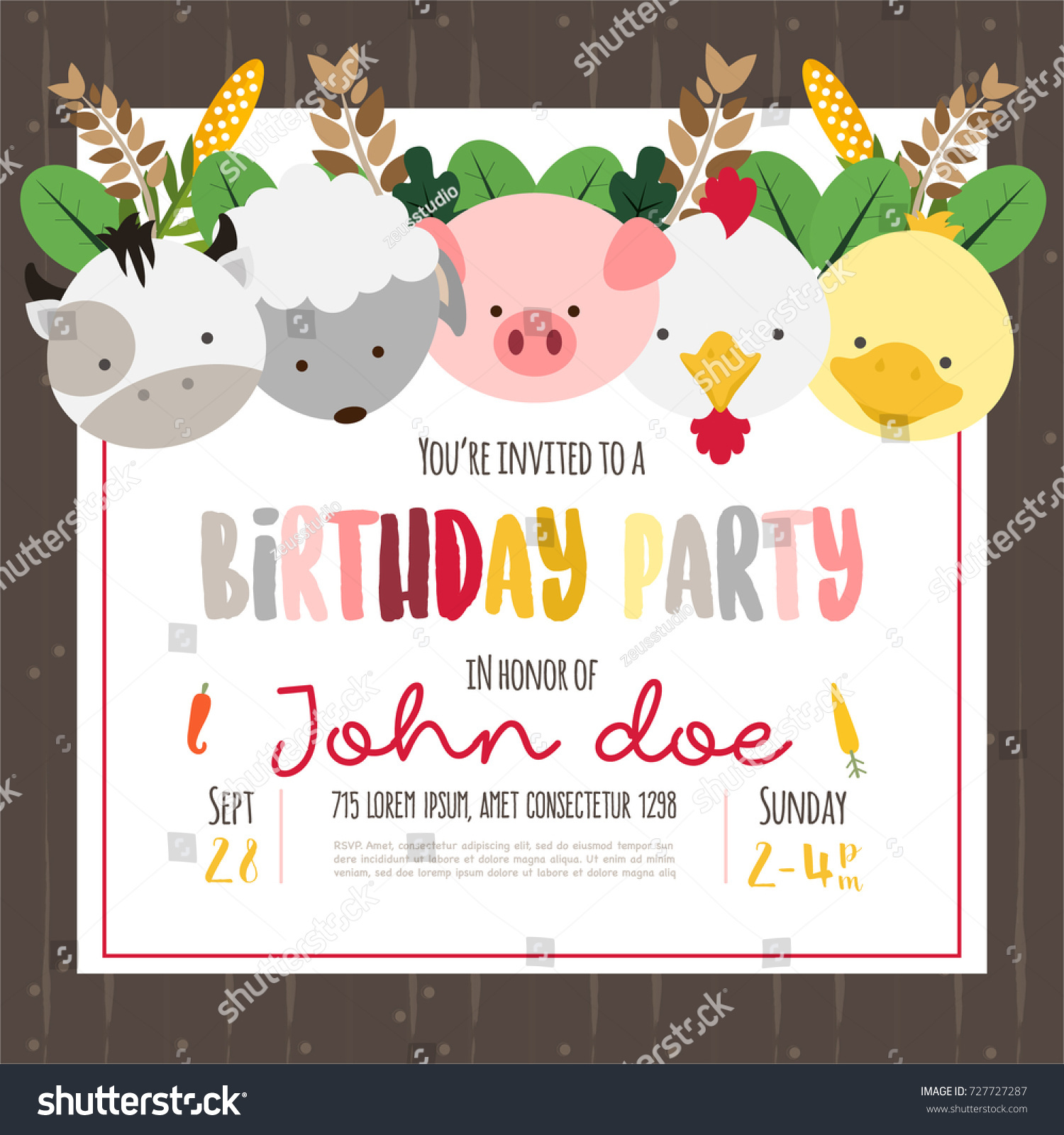 Cute Farm Animals Cartoon Illustration Birthday Stock Vector
