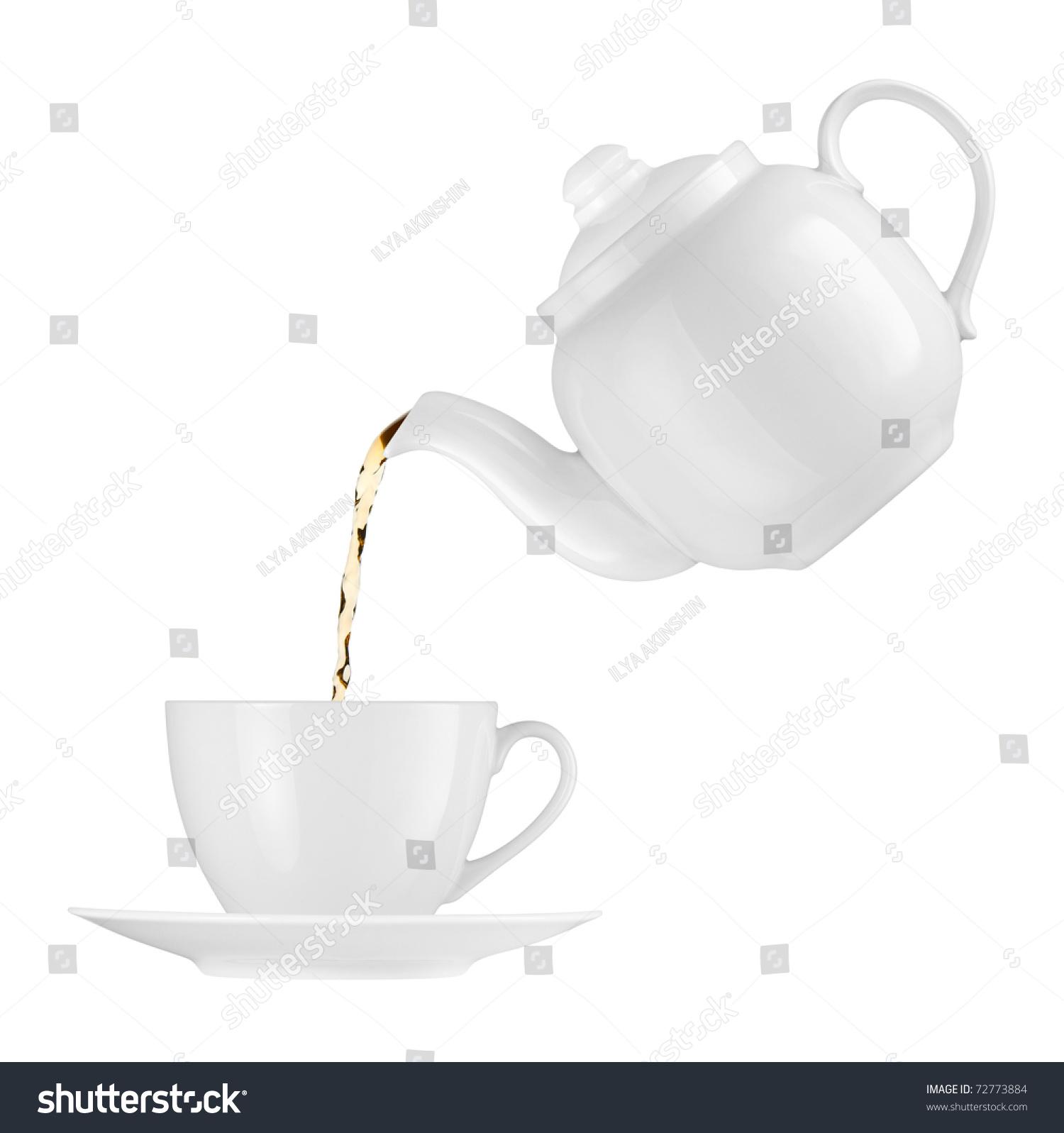 Teapot Pouring Tea Into Cup Stock Photo 72773884