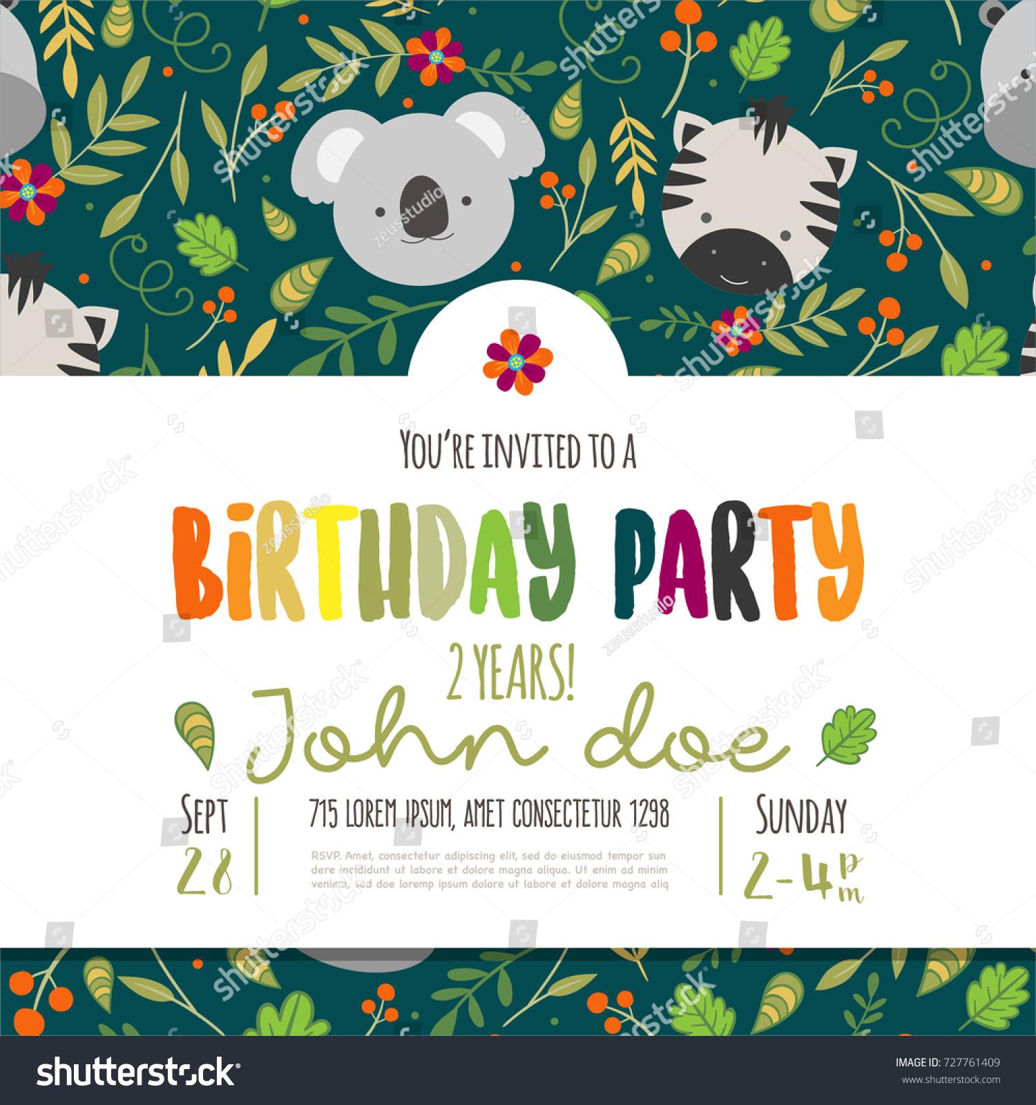 Kids birthday invitation card cute cartoon stock vector hd royalty kids birthday invitation card with cute cartoon jungle animals stopboris Images