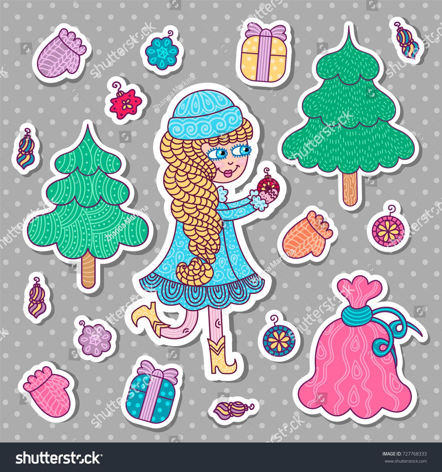 Collection Christmas Decor Icons Snow Maiden Stock Vector