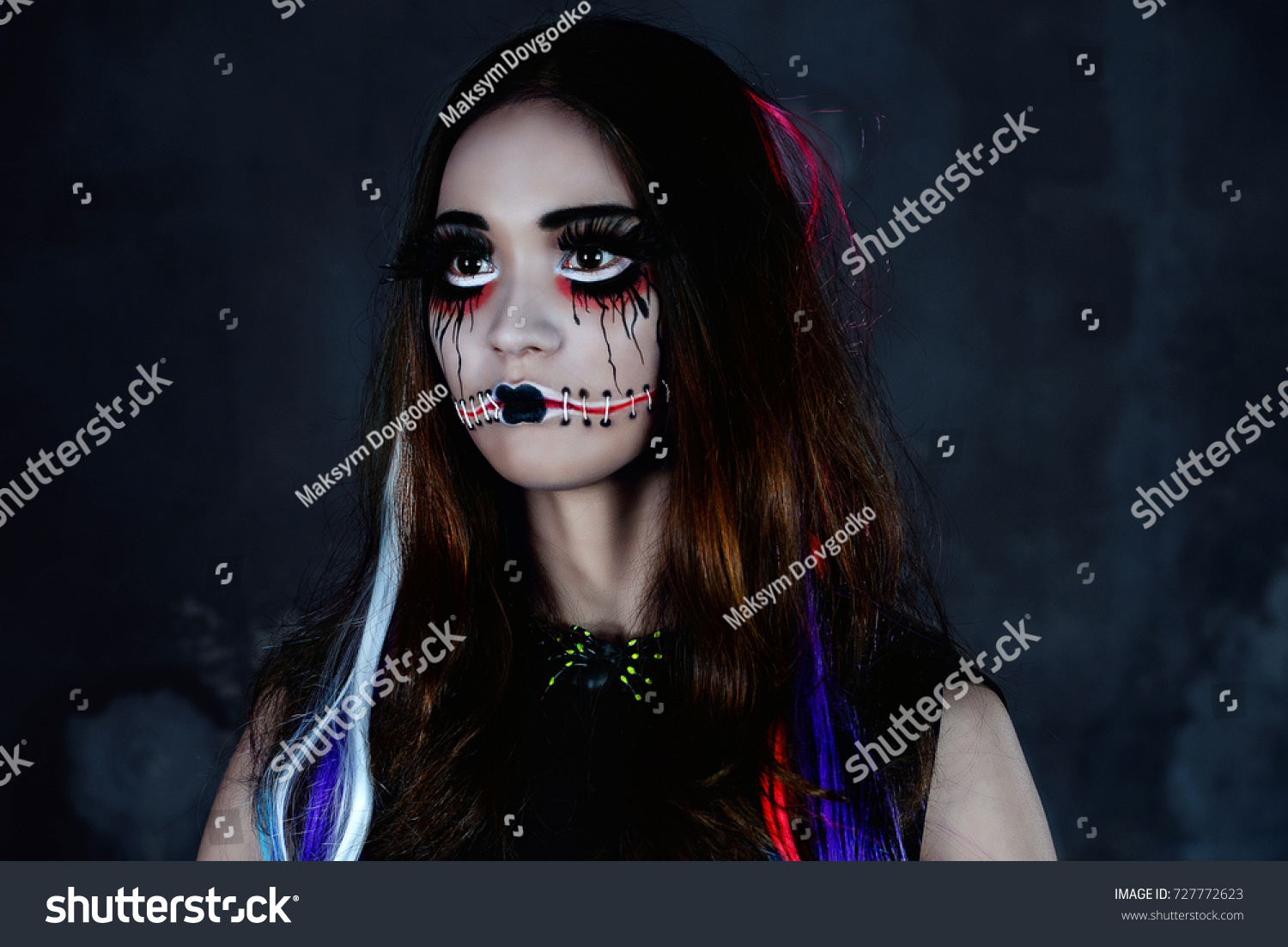 scary doll mouth sewn shut halloween stock photo (edit now