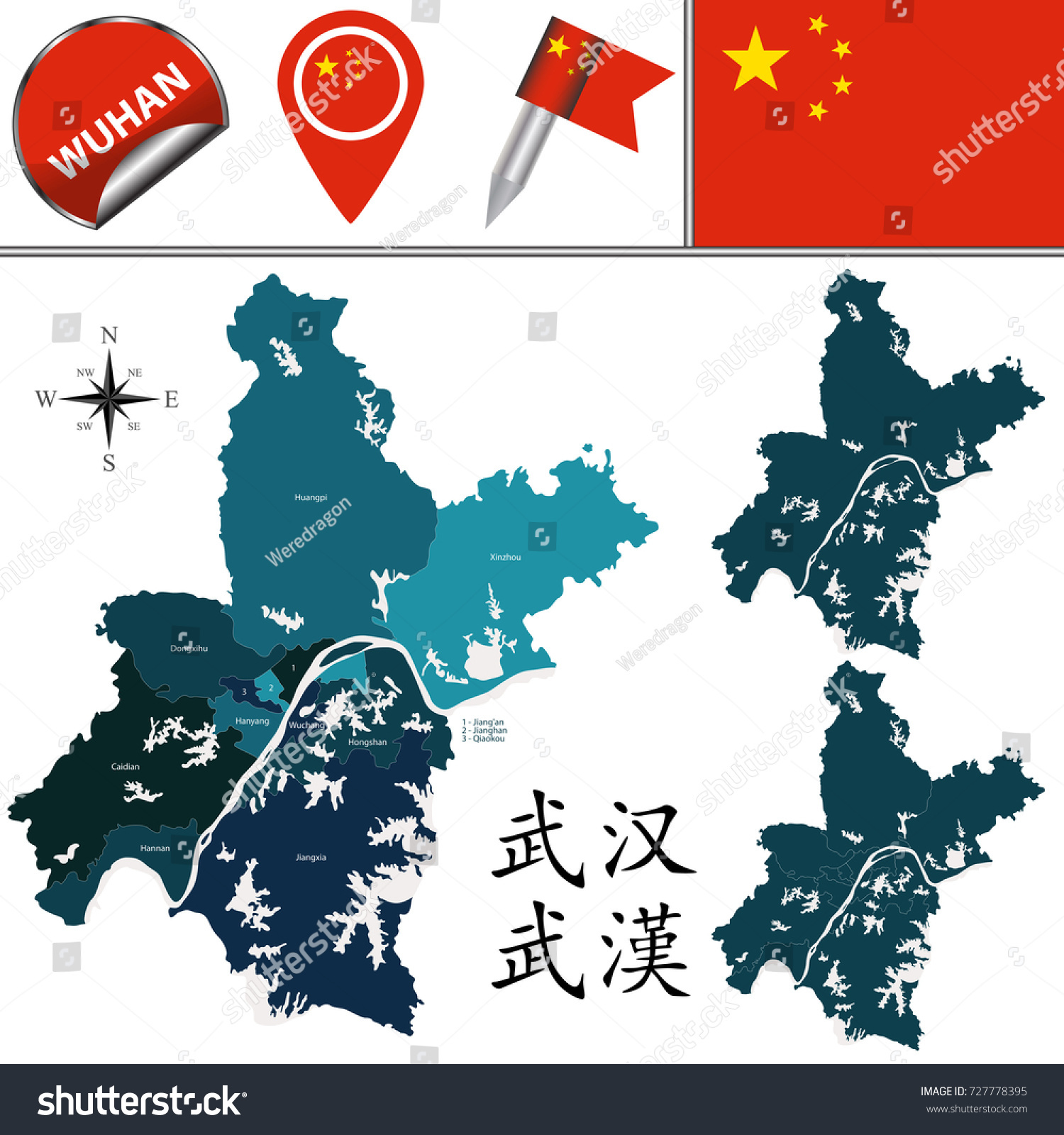 Vector Map Wuhan Named Divisions Travel Stock Vector 727778395