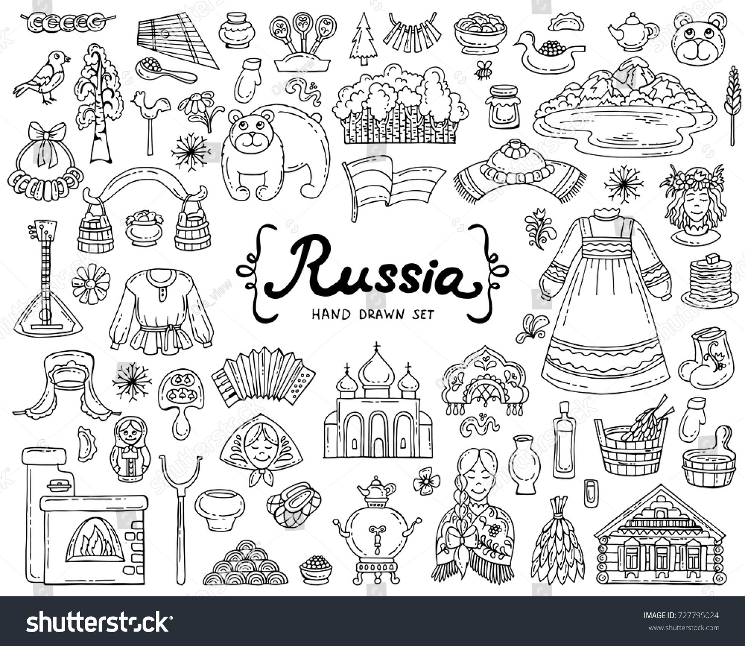 vector set hand drawn colored doodles stock photo photo vector