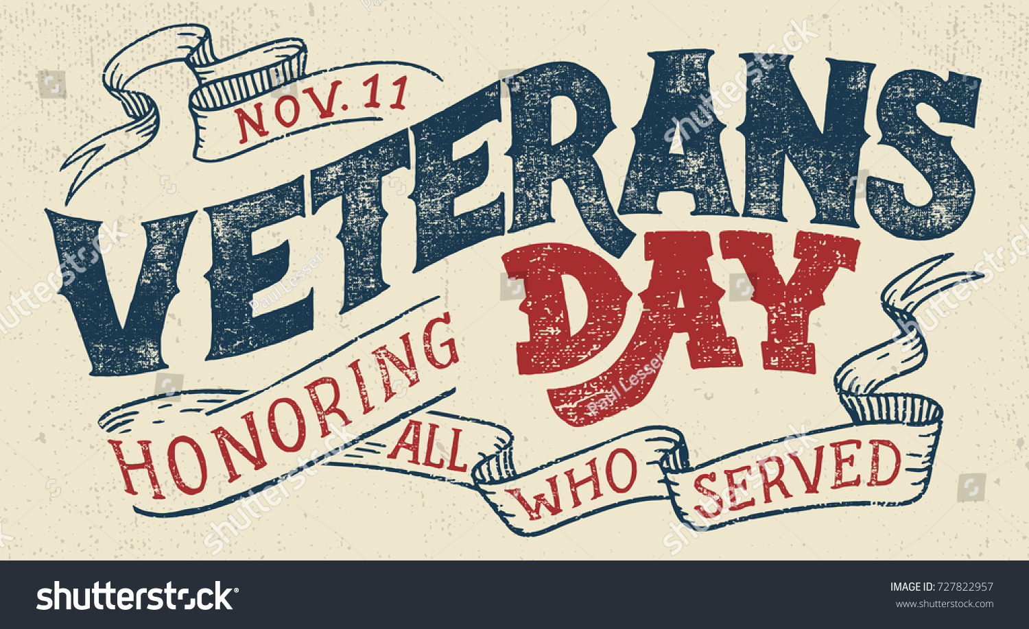 Veterans Day Honoring All Who Served Stock Vector