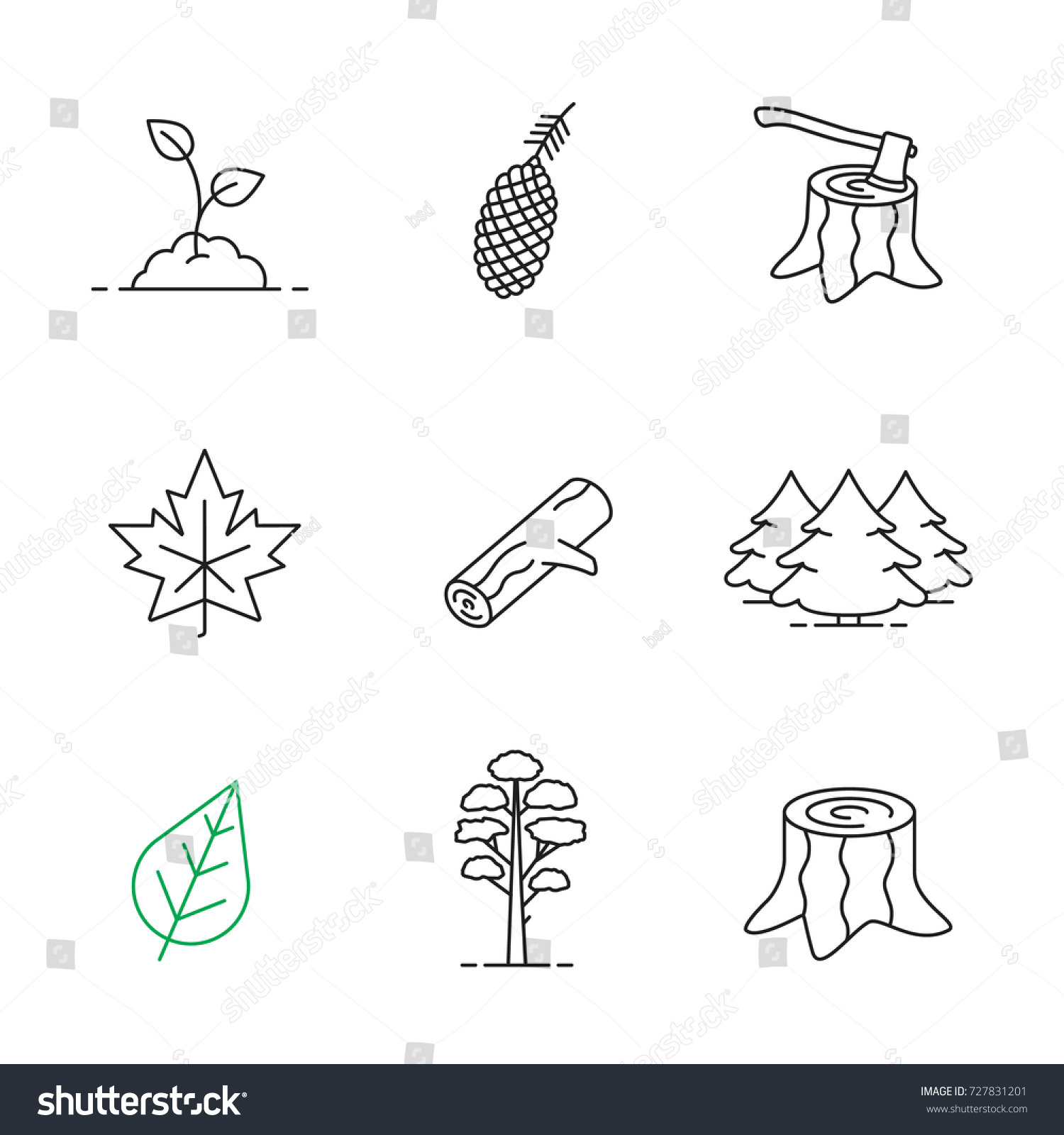 forestry linear icons set pine cone stock illustration 727831201