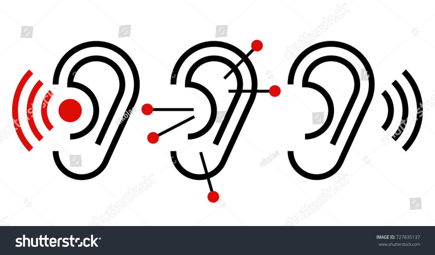 Ear Acupuncture Hearing Aid Icon Ear Stock Vector Royalty Free