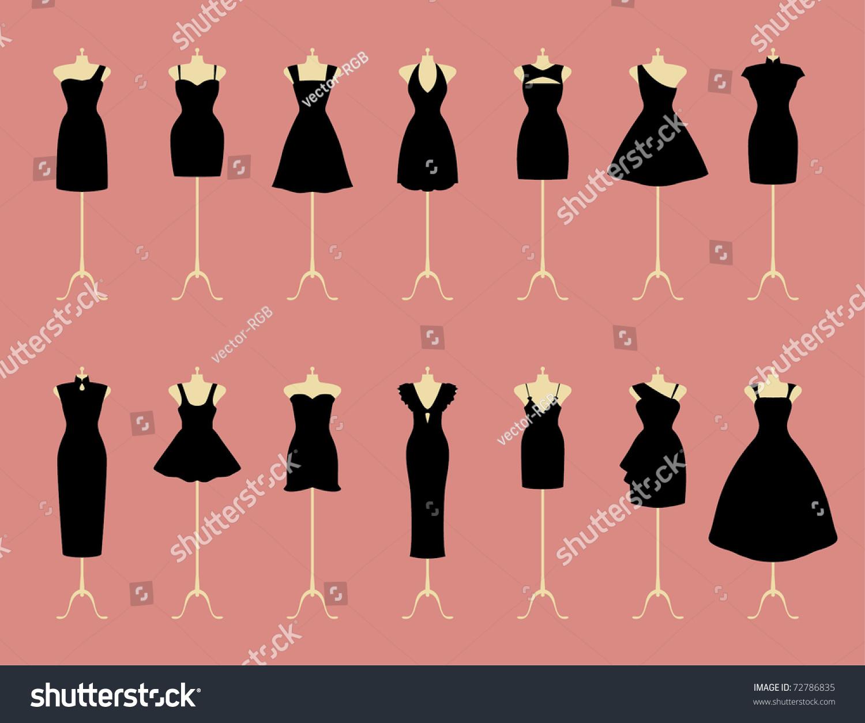 Little Black Dresses Stock Vector 72786835 - Shutterstock
