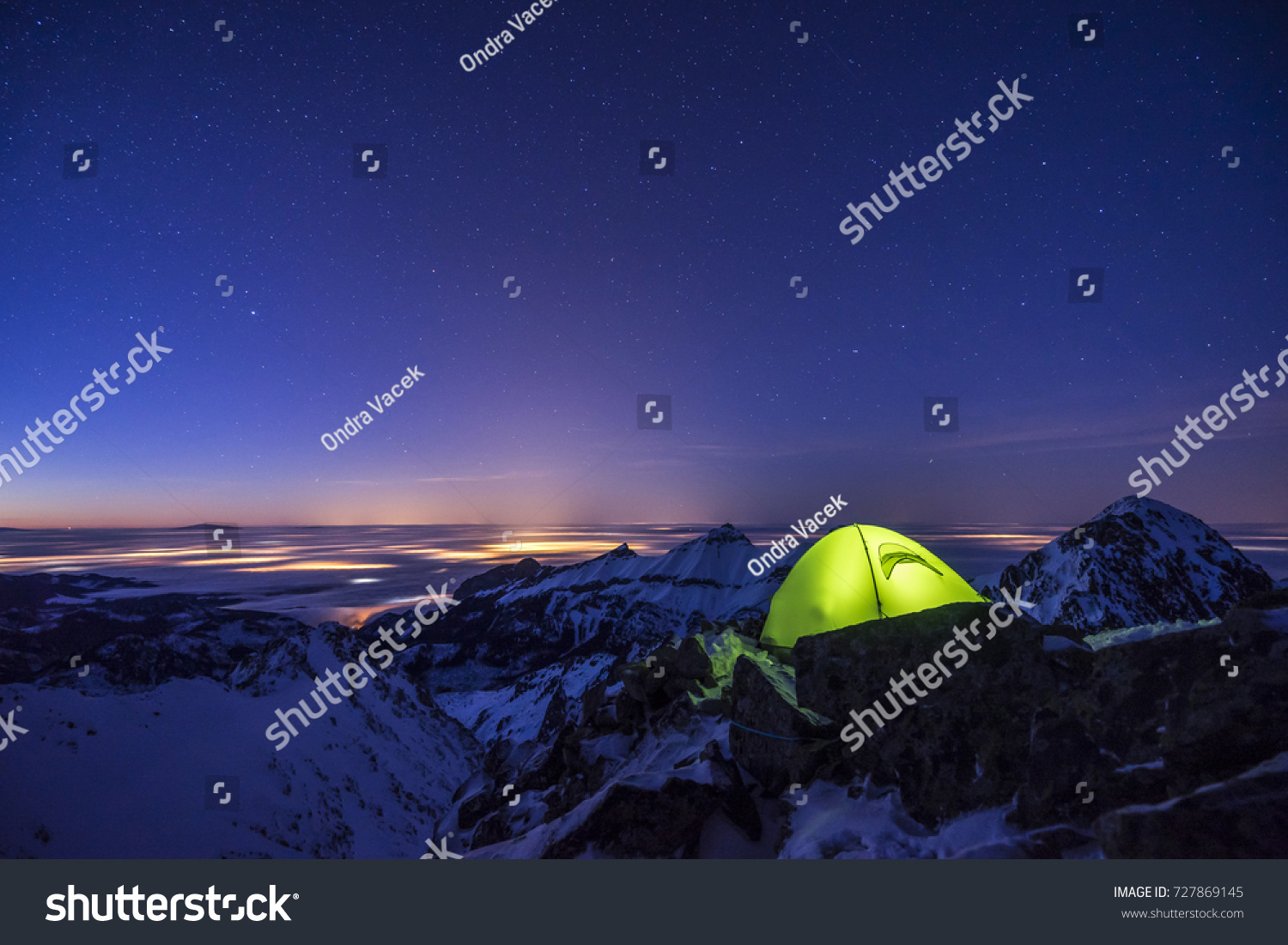 Winter c&ing in high mountains. High Tatra Slovakia. Lid tent shining on a & Winter Camping High Mountains High Tatra Stock Photo 727869145 ...