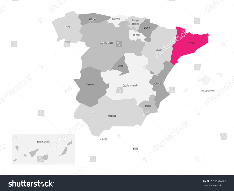 Map Spain Devided 17 Administrative Autonomous Stock Vector