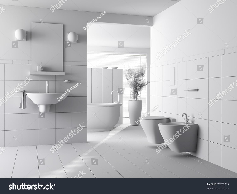 3d clay render modern bathroom interior stock illustration for Design my bathroom 3d