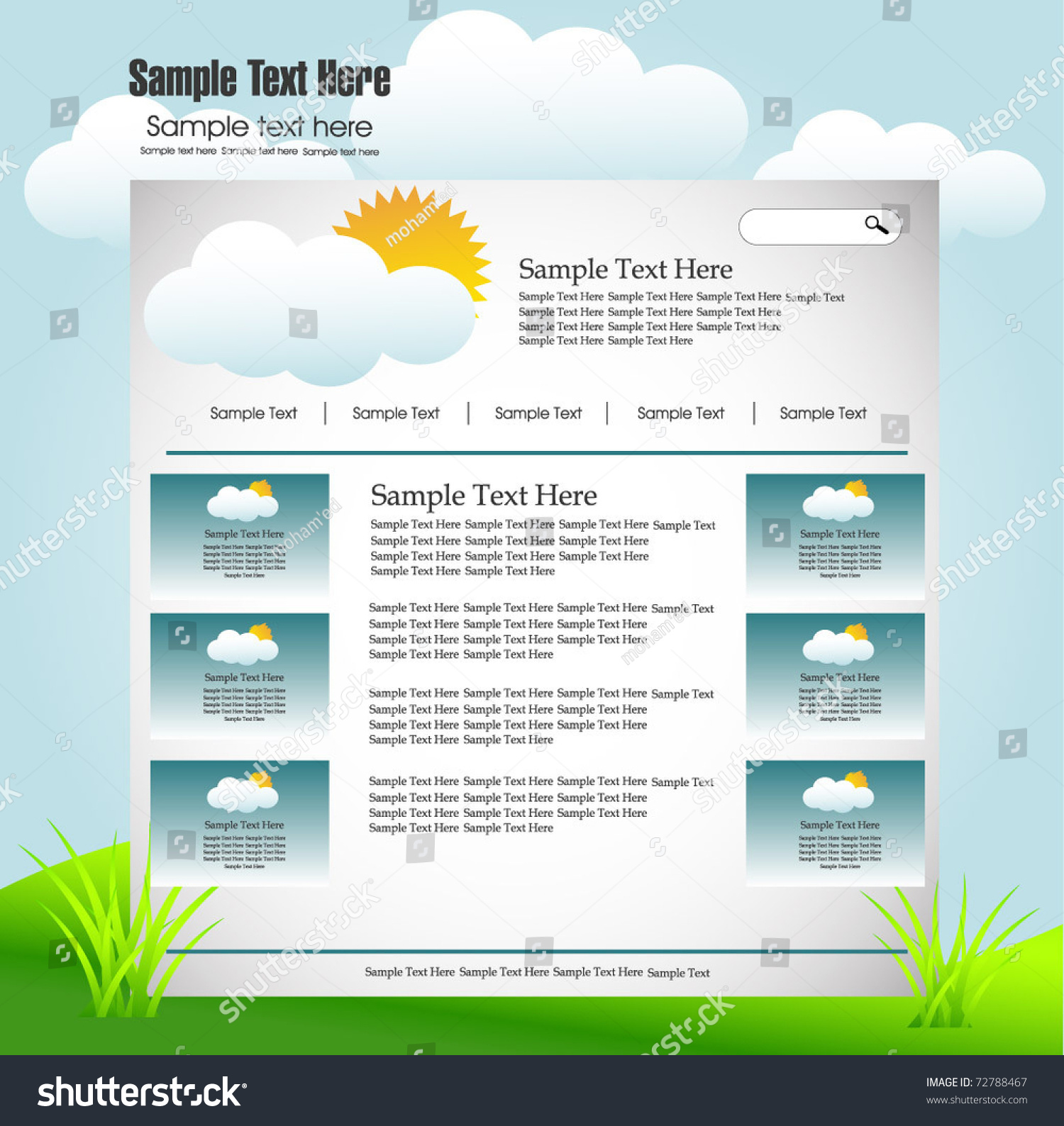 Web Design Template Weather Forecast Stock Vector (Royalty Free ...