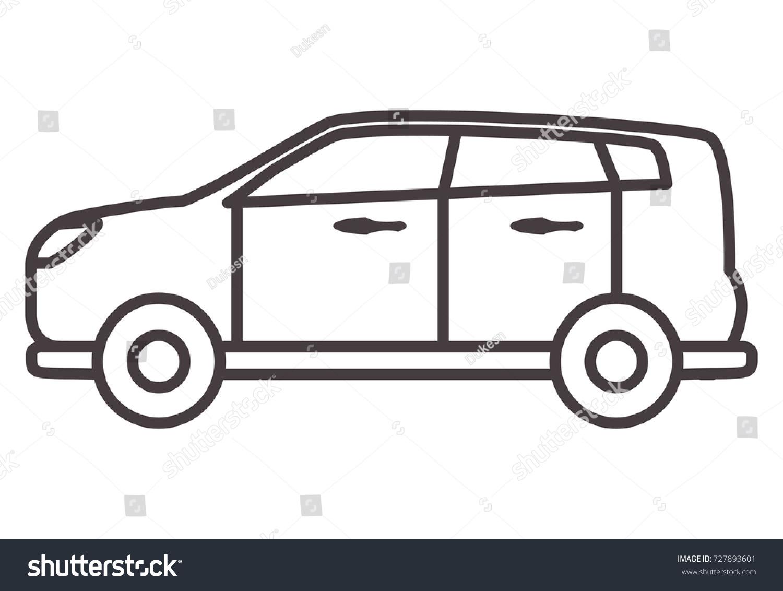 Car Hatchback Linear Styleicons Vehicletransportation Outline Stock ...