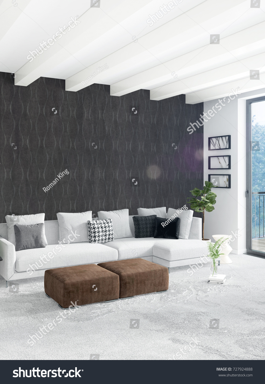 Loft bedroom in modern style interior design with eclectic wall and stylish sofa 3d rendering