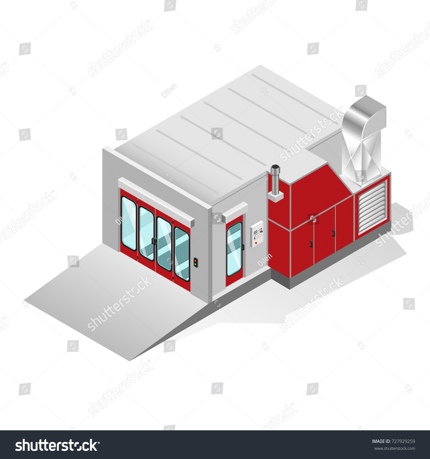 Spray Paint Booth Painting Car Body Stock Vector 727929259 ...