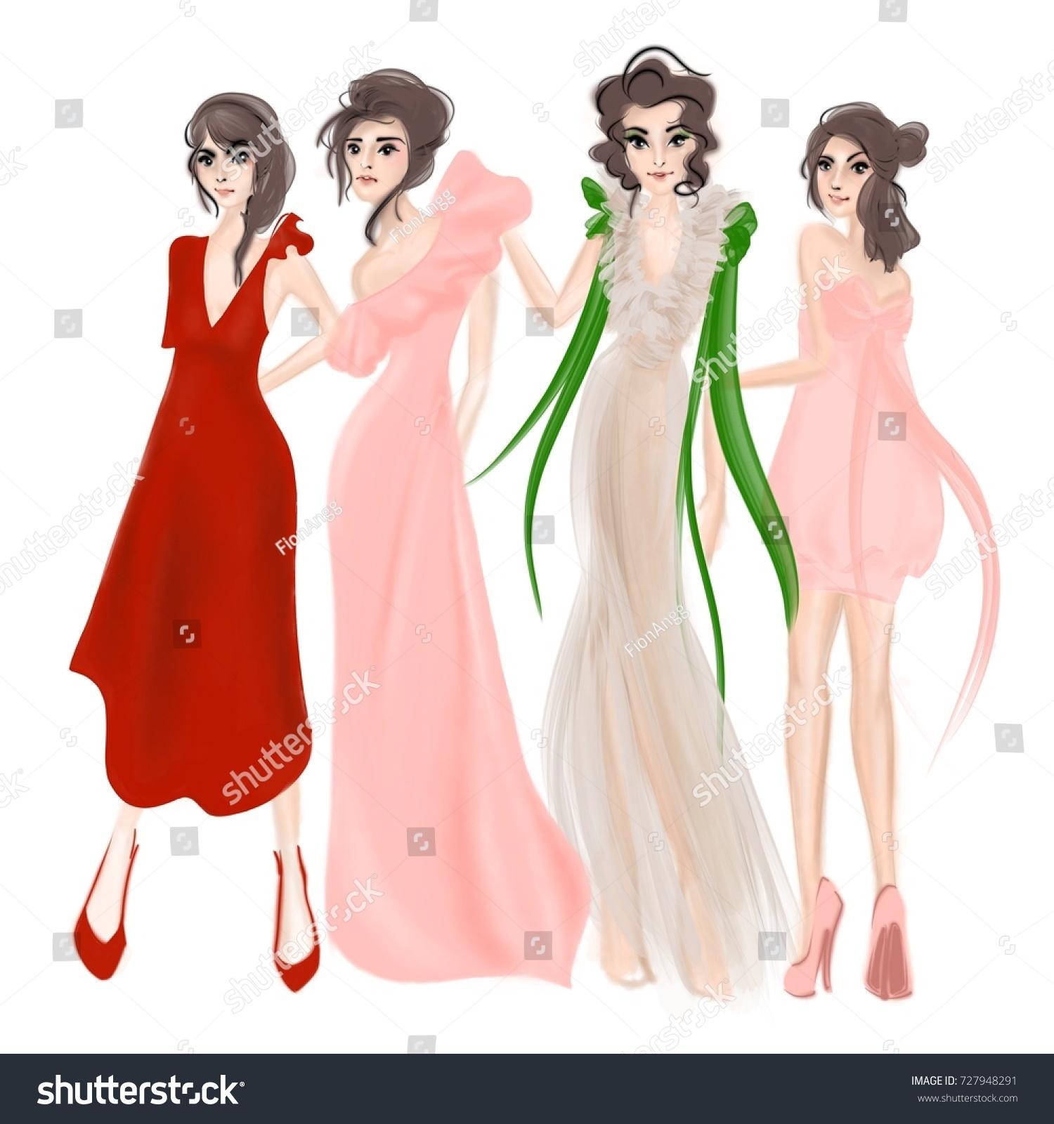 Girls Designer Party Dresses Stock Illustration 727948291 - Shutterstock