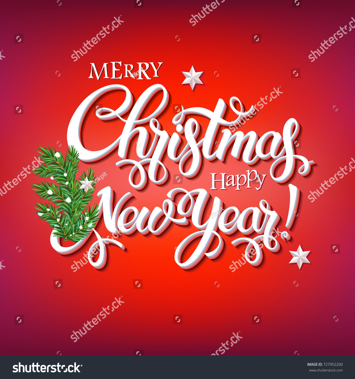 merry christmas and happy new year 2018 sign on red background with a branch of a