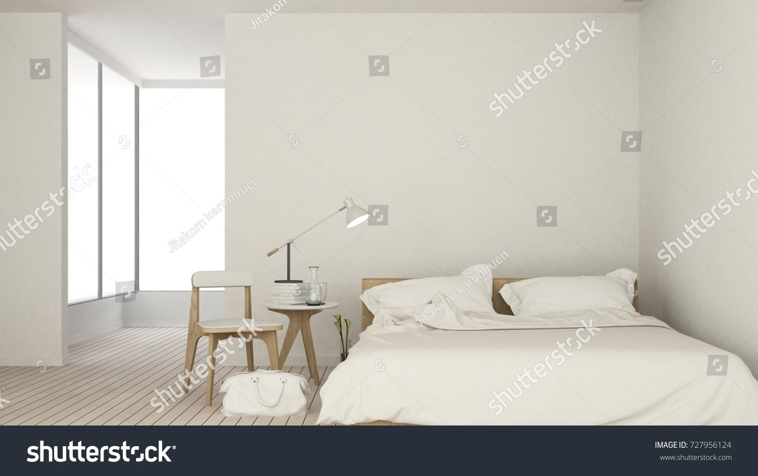 Bedroom space interior minimal and wall decoration empty in apartment  3D  rendering. Bedroom Space Interior Minimal Wall Decoration Stock Illustration
