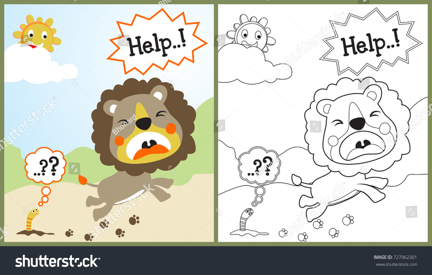 Vector Cartoon Of Cowardly Lion Coloring Page Or Book