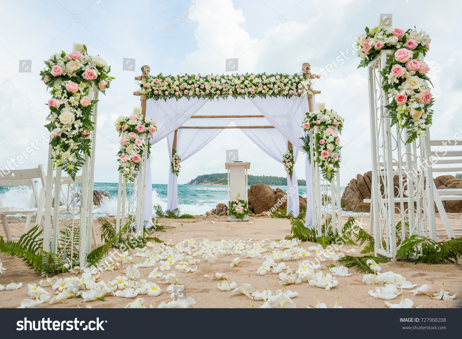 Beautiful Wedding Decorated On Beach Wedding Stock Photo (Edit Now)  727968208