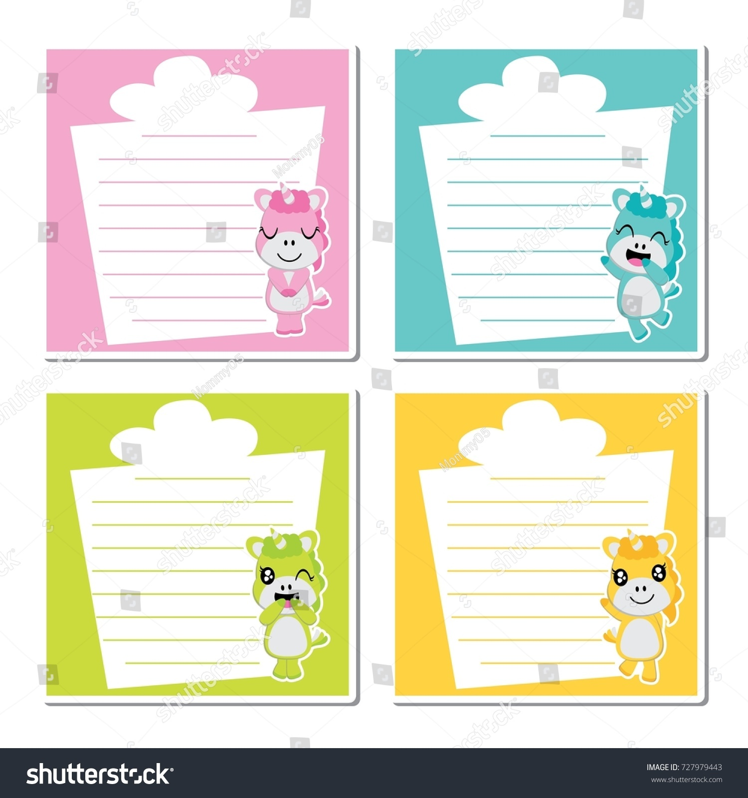 cute unicorn girls on colorful gifts stock vector royalty free