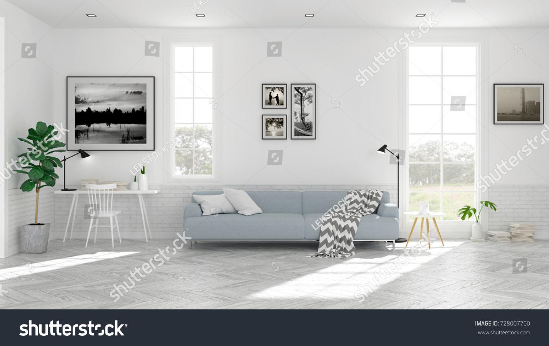 Scandinavian Living Room Interior Design Light Stock Illustration ...