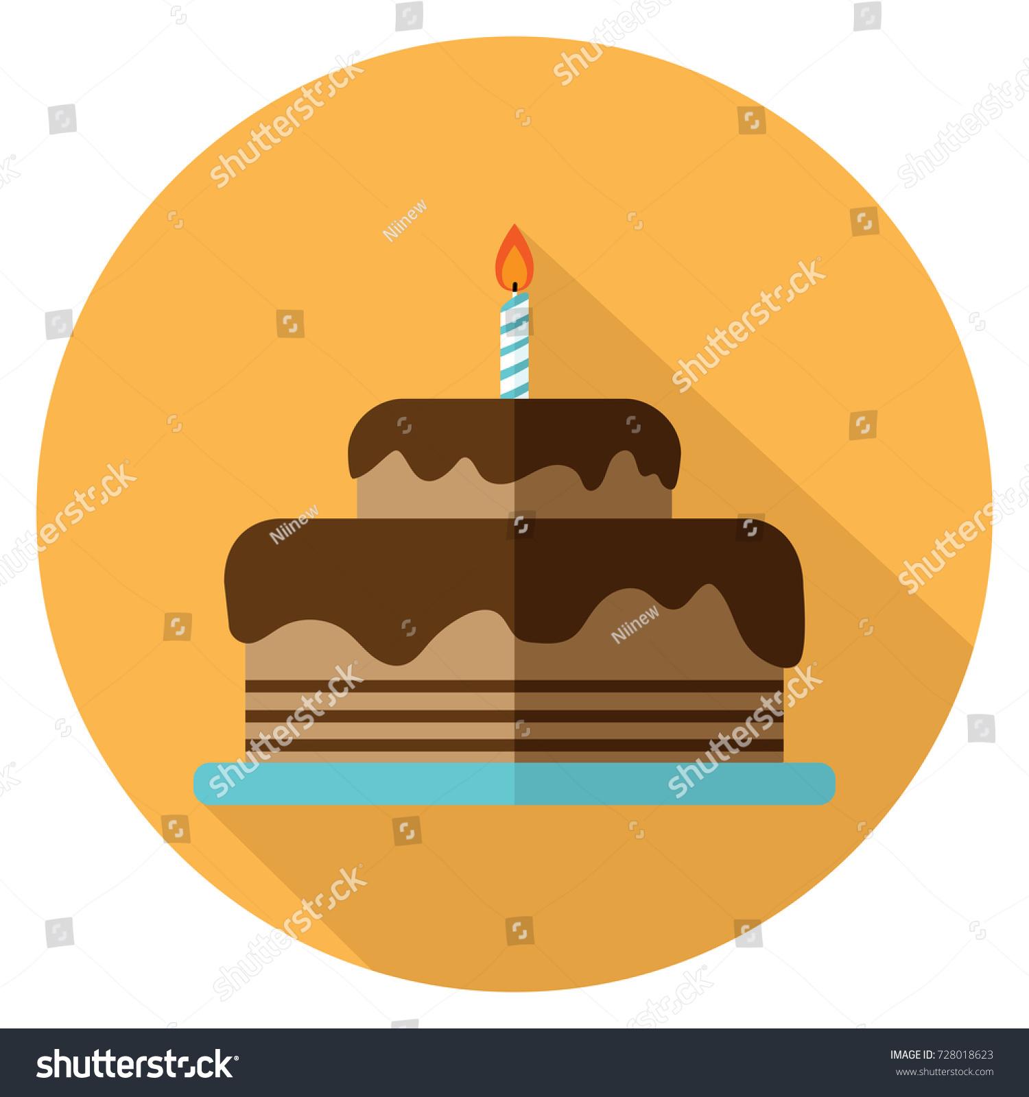 Vector Illustration Chocolate Birthday Cake Icon Stock Vector