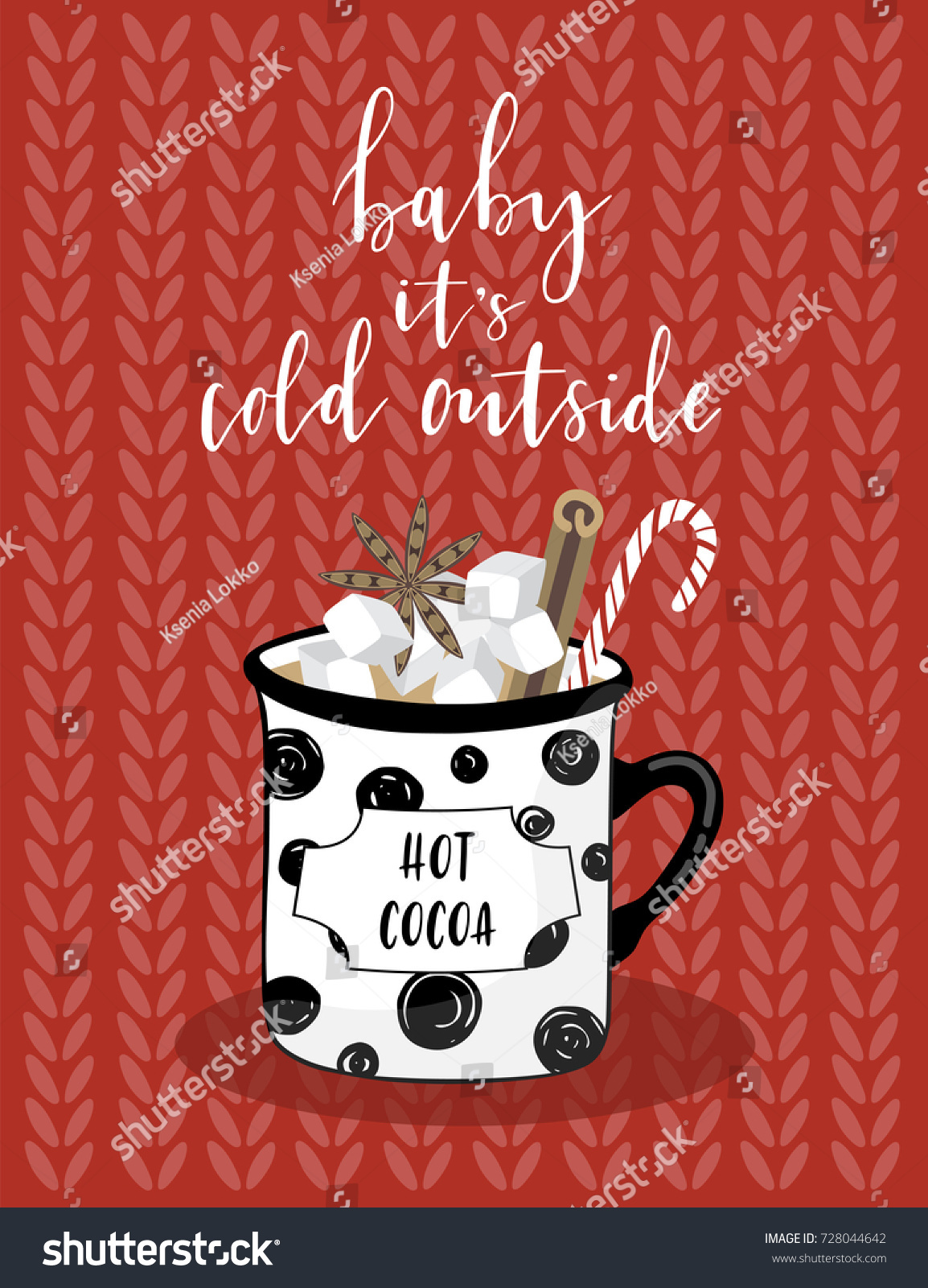 Christmas greeting card lettering cacao mug stock vector