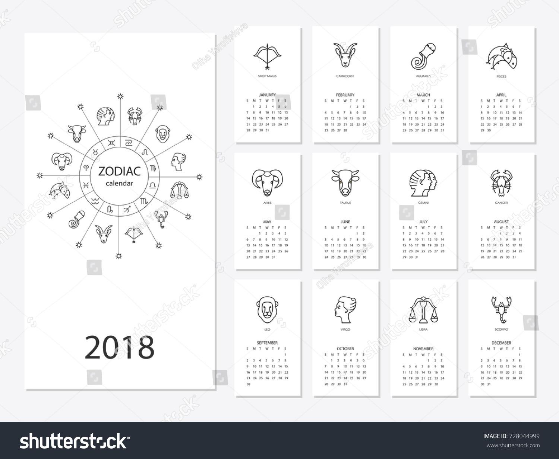 Calendar 2018 Horoscope Signs Zodiac Symbols Stock Vector HD