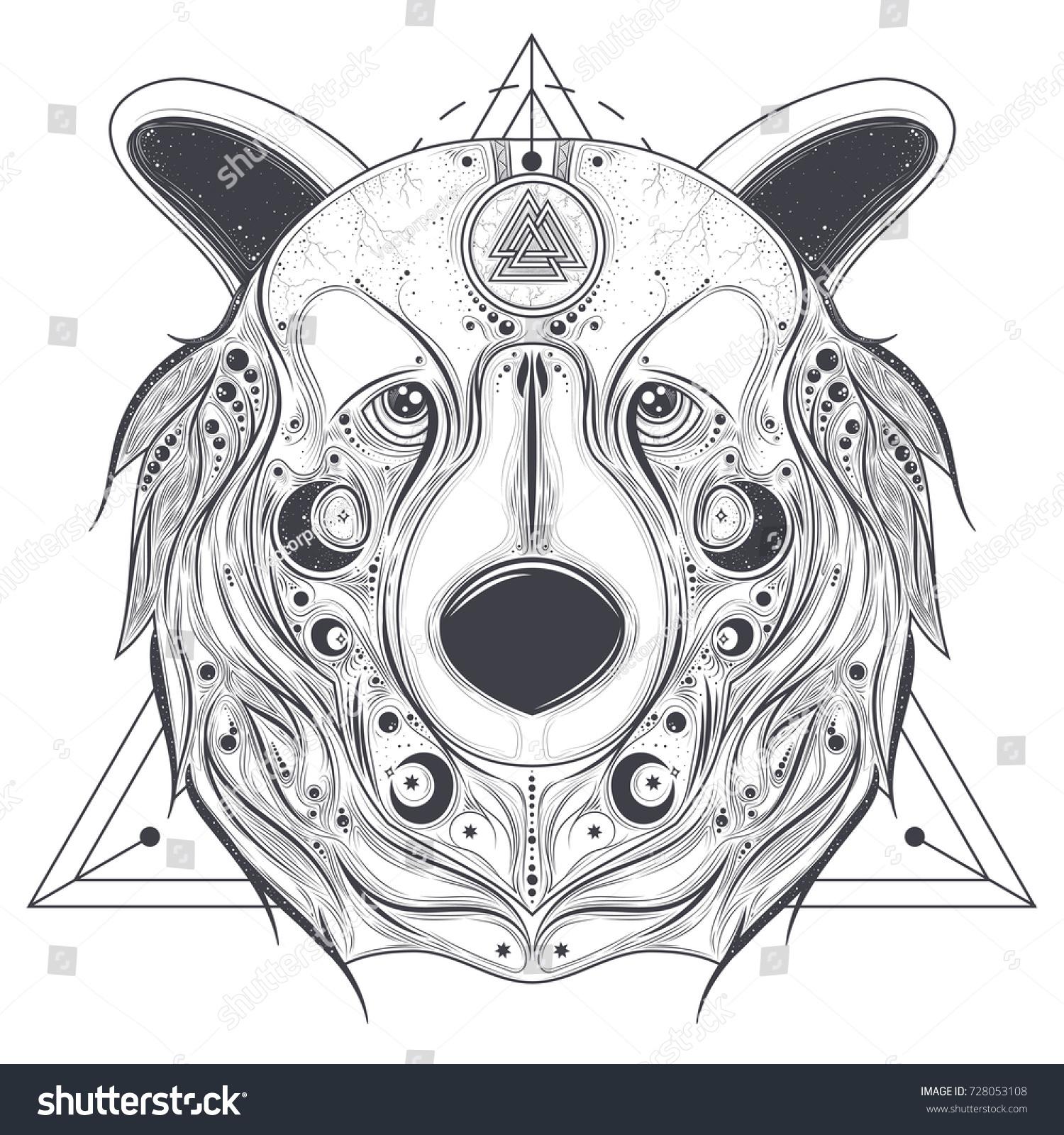 Grizzly bear head ancient pagan valknut stock vector 728053108 grizzly bear head with ancient pagan valknut symbol on forehead line art vector illustration isolated on biocorpaavc