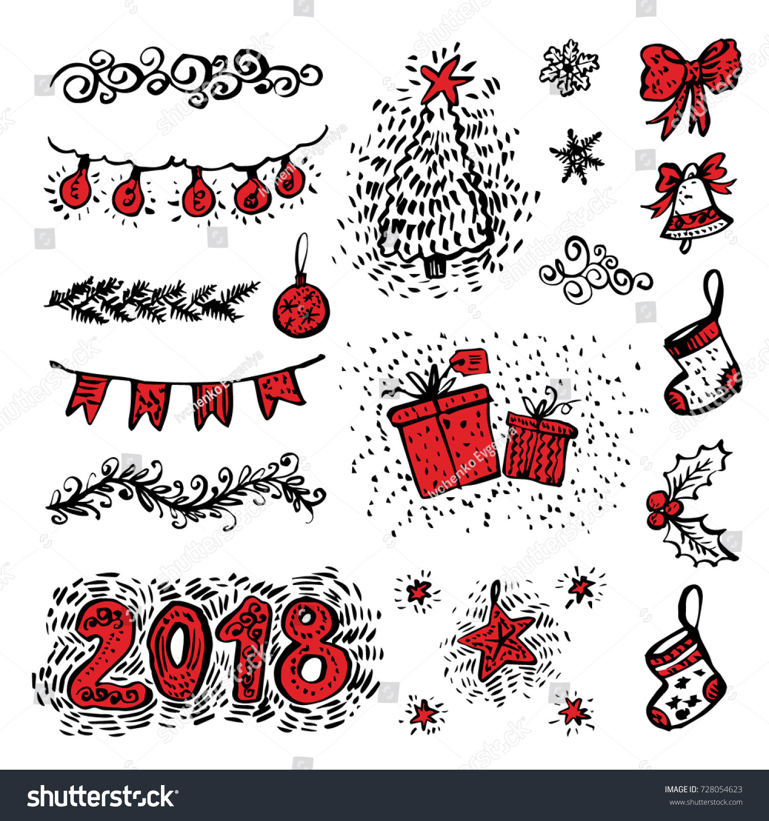 Seasons greetings hand drawn christmas holiday stock vector seasons greetings hand drawn christmas holiday collection with illustration and decoration elements for greeting cards kristyandbryce Choice Image