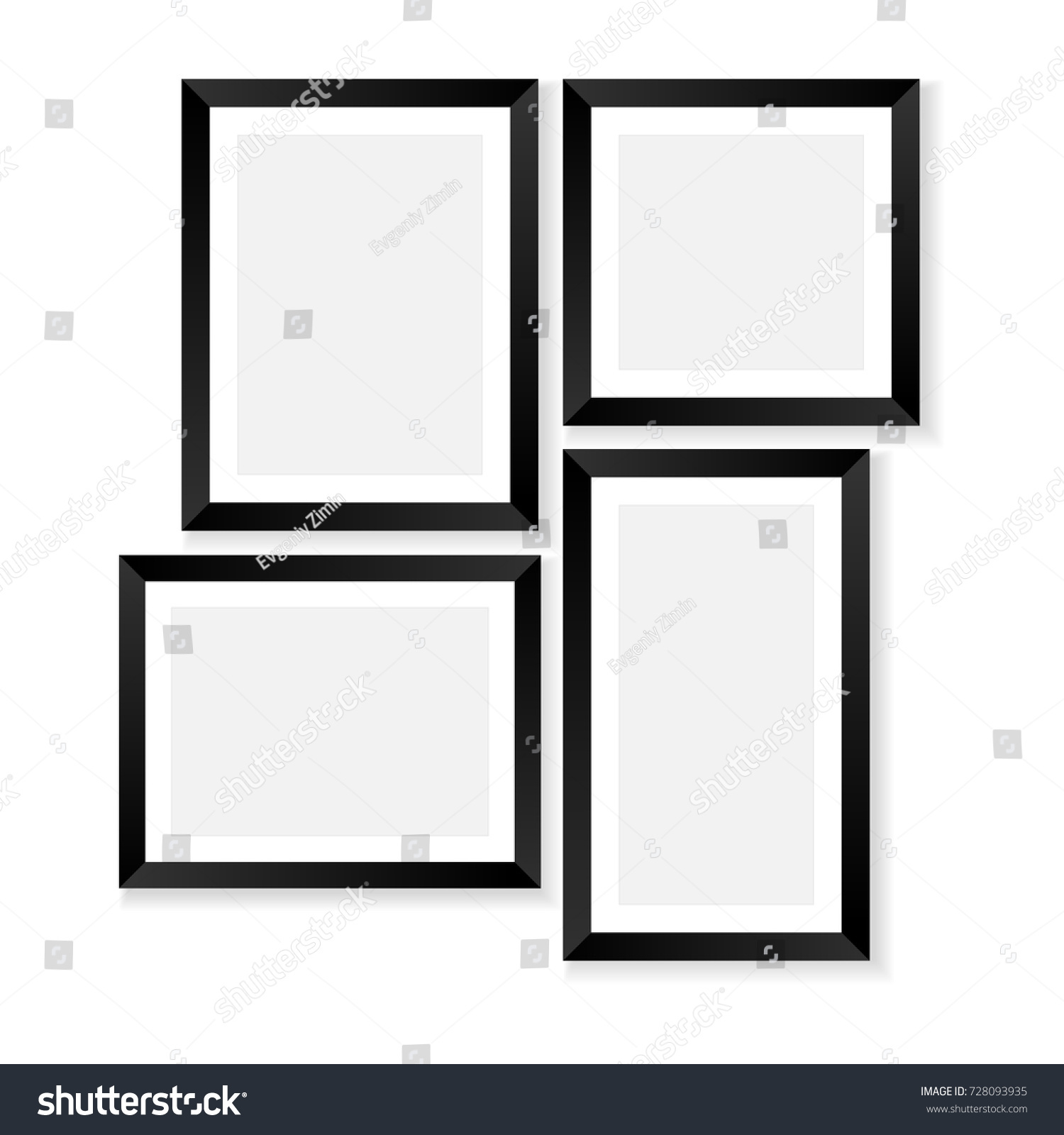 set blank photo frames mockups poster stock vector royalty free
