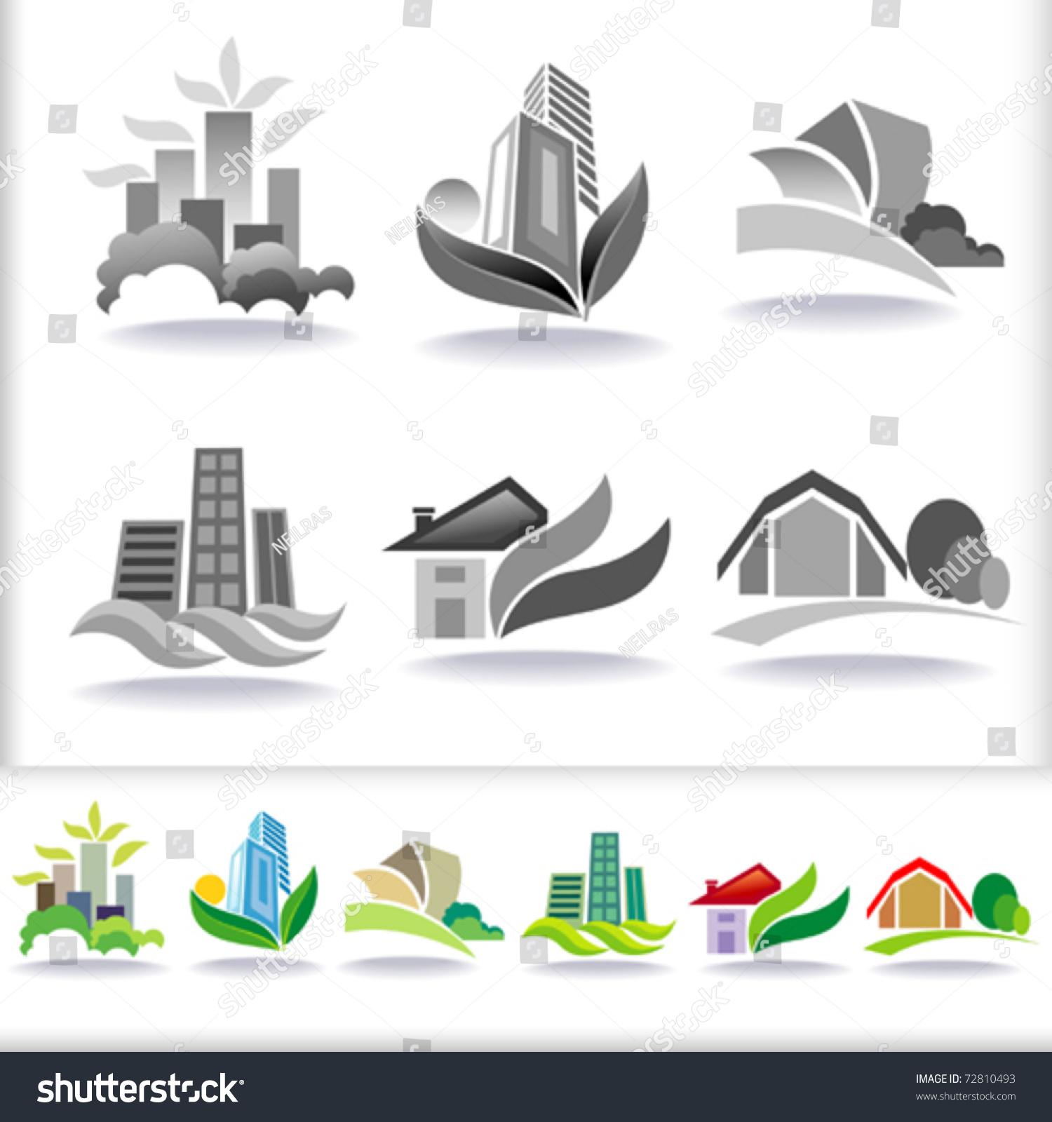 Eco Friendly Urban Architecture Symbols Icon Stock Vector