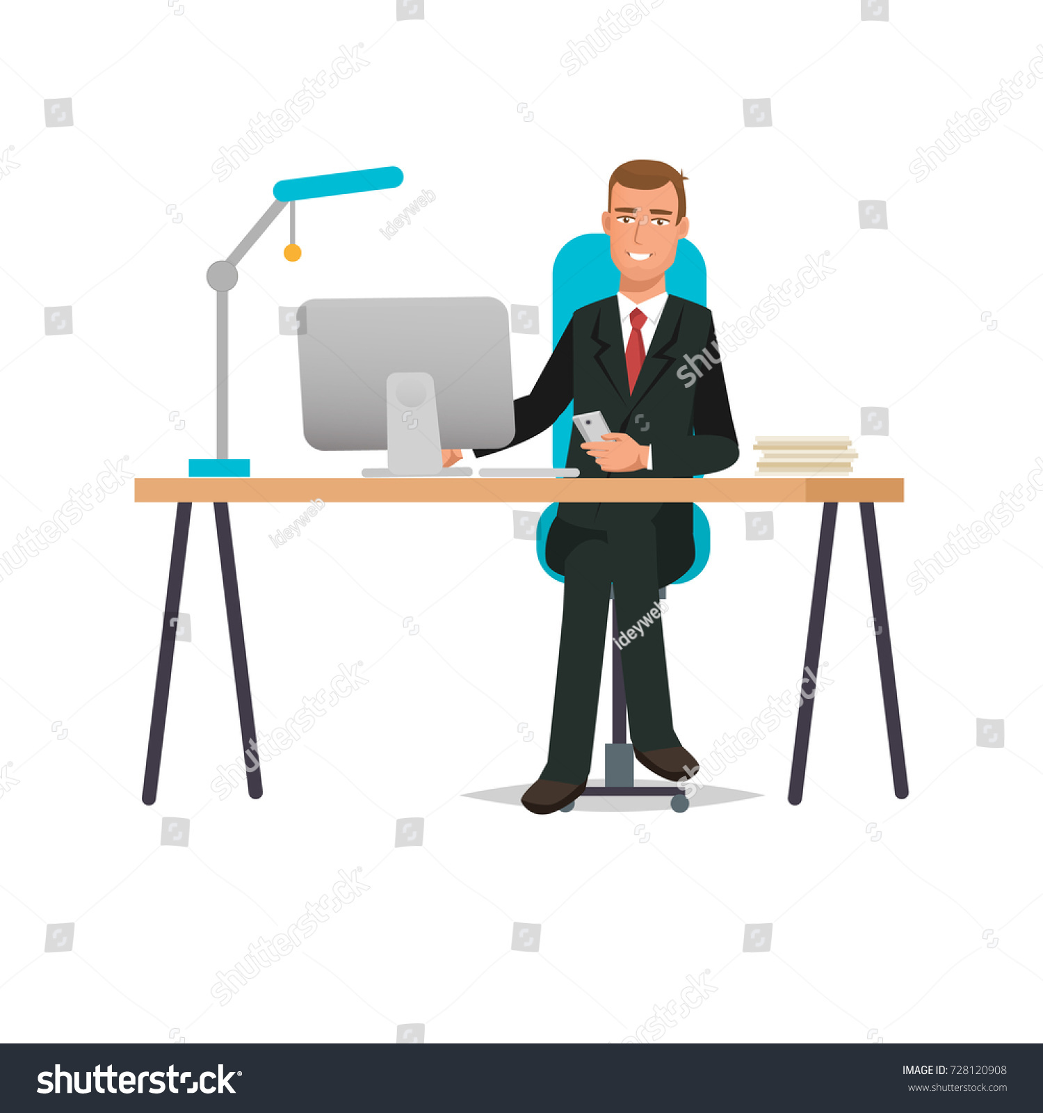 Businessman Working Cartoon Character Person Office Stock Vector