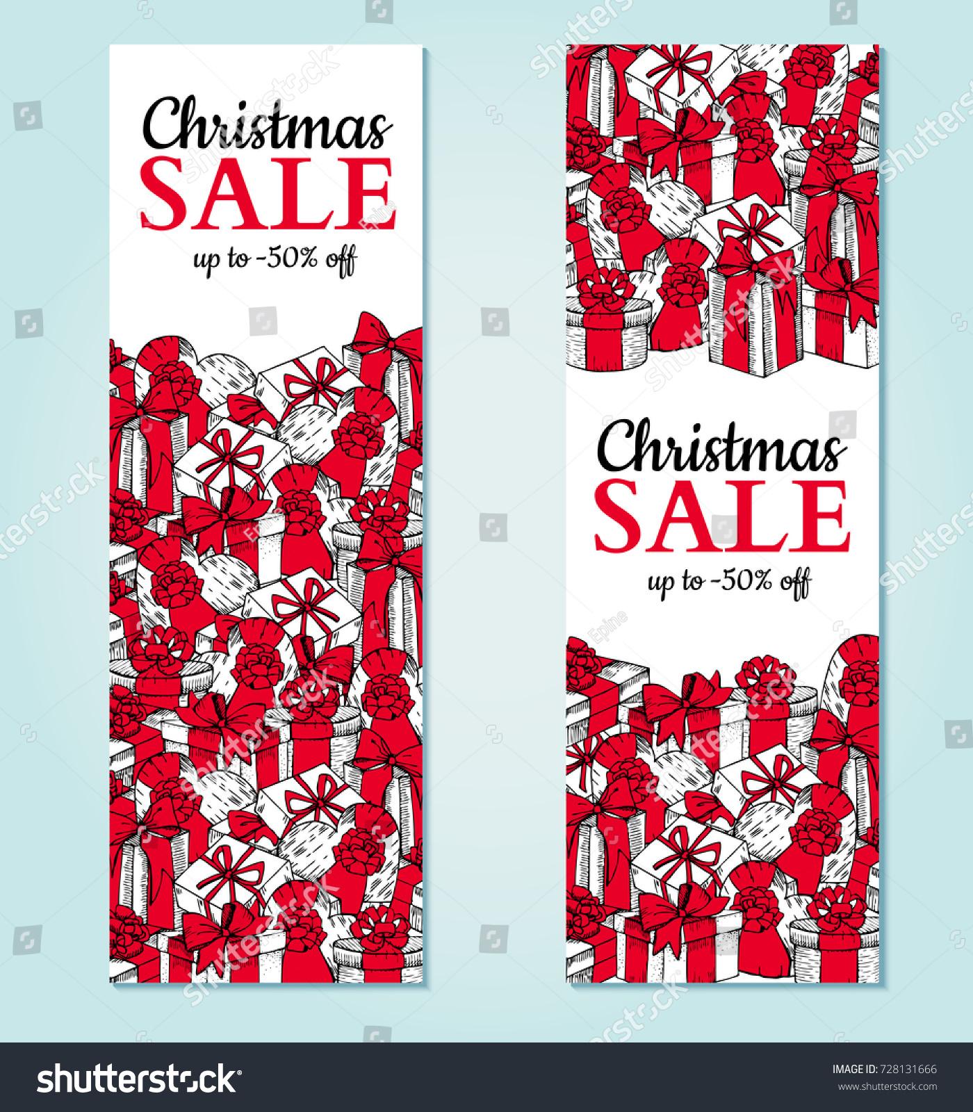 Christmas Sale Banner Vector Hand Drawn Stock Vector 728131666 ...