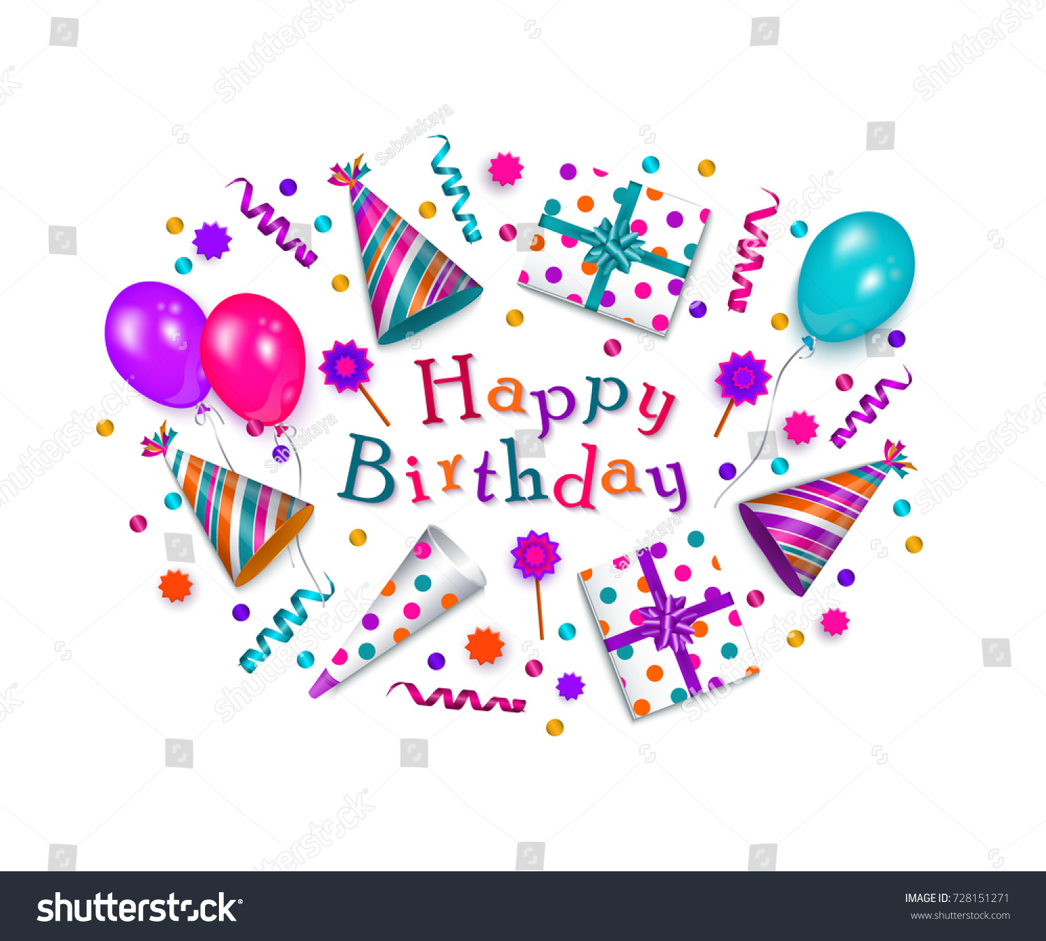 Happy Birthday Greeting Card Banner Poster Stock Vector