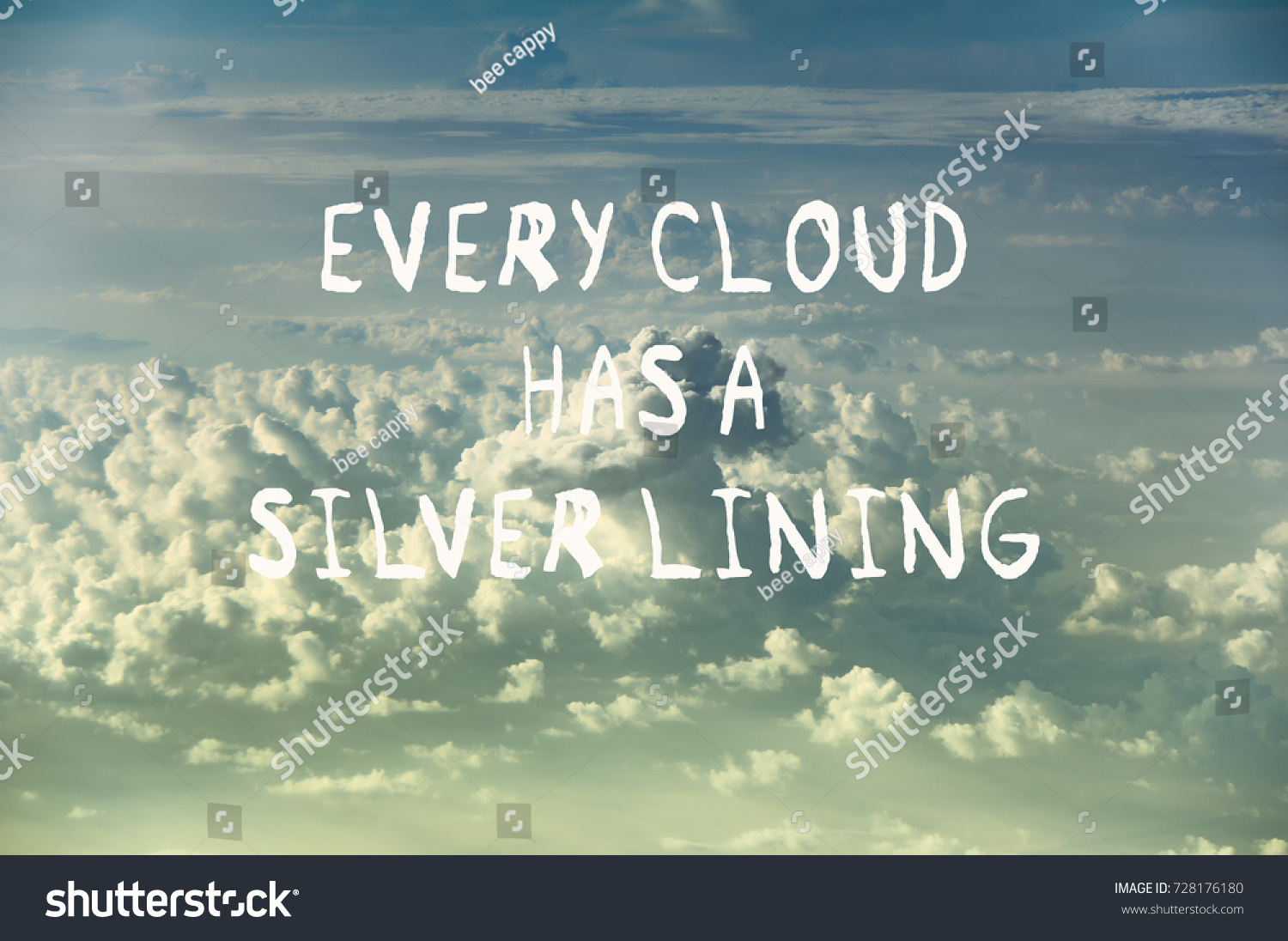 life motivational quotes every cloud has stock photo edit now