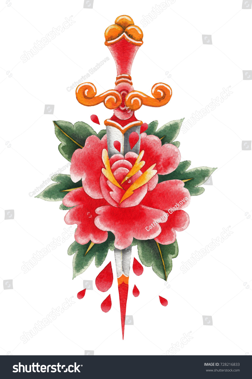 Red Watercolor Flower Pierced By Ornate Stock Illustration 728216833 ...