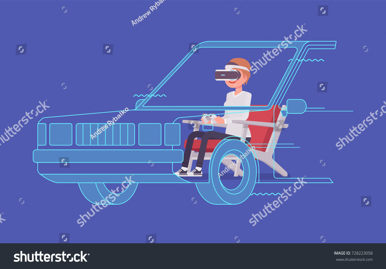 Vr Woman Driving Test Using Advanced Stock Vector (Royalty Free