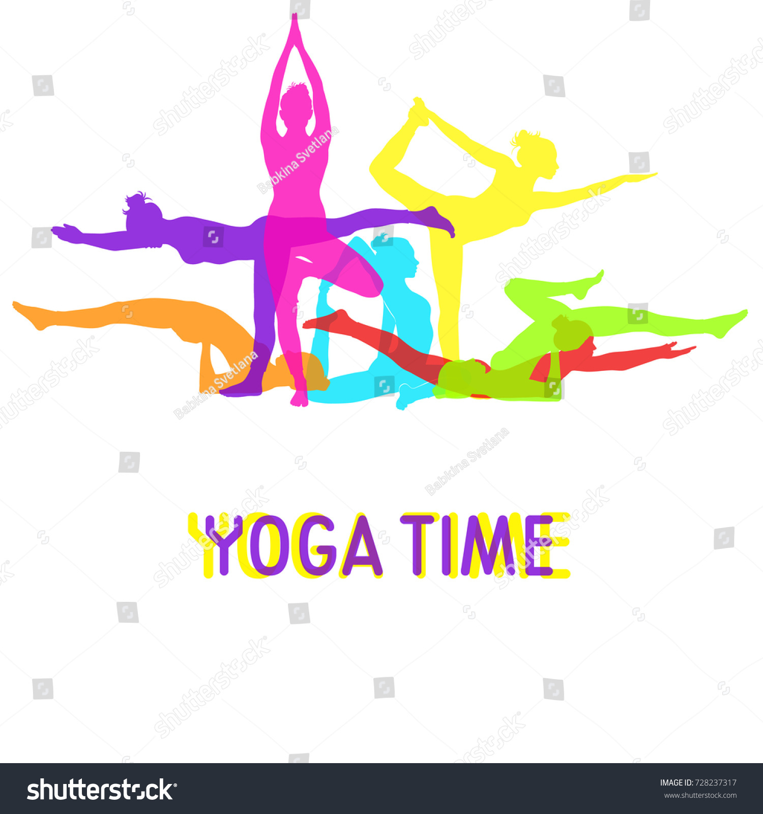 Silhouettes Of Woman Doing Yoga Mixed Together For Banner Design Colored Vector Icons