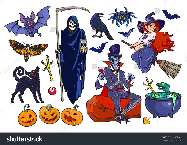 big set halloween cartoon characters objects stock vector