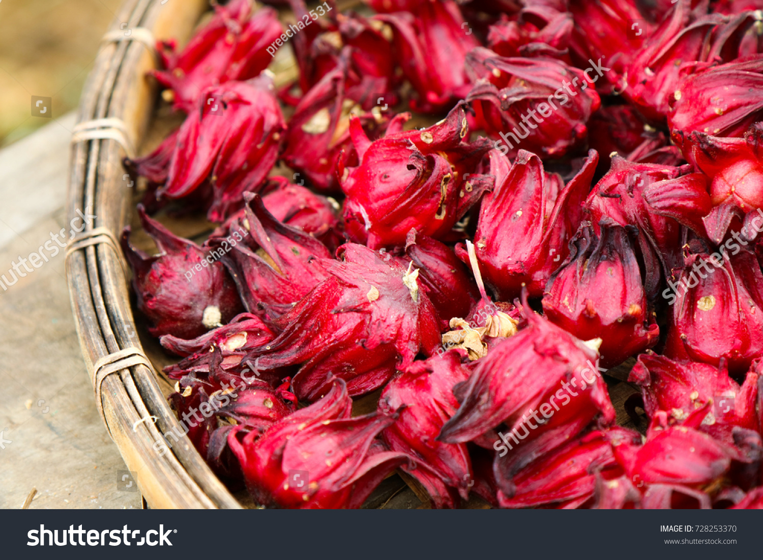 Dried Hibiscus Flowers Basket Weave Stock Photo Edit Now 728253370