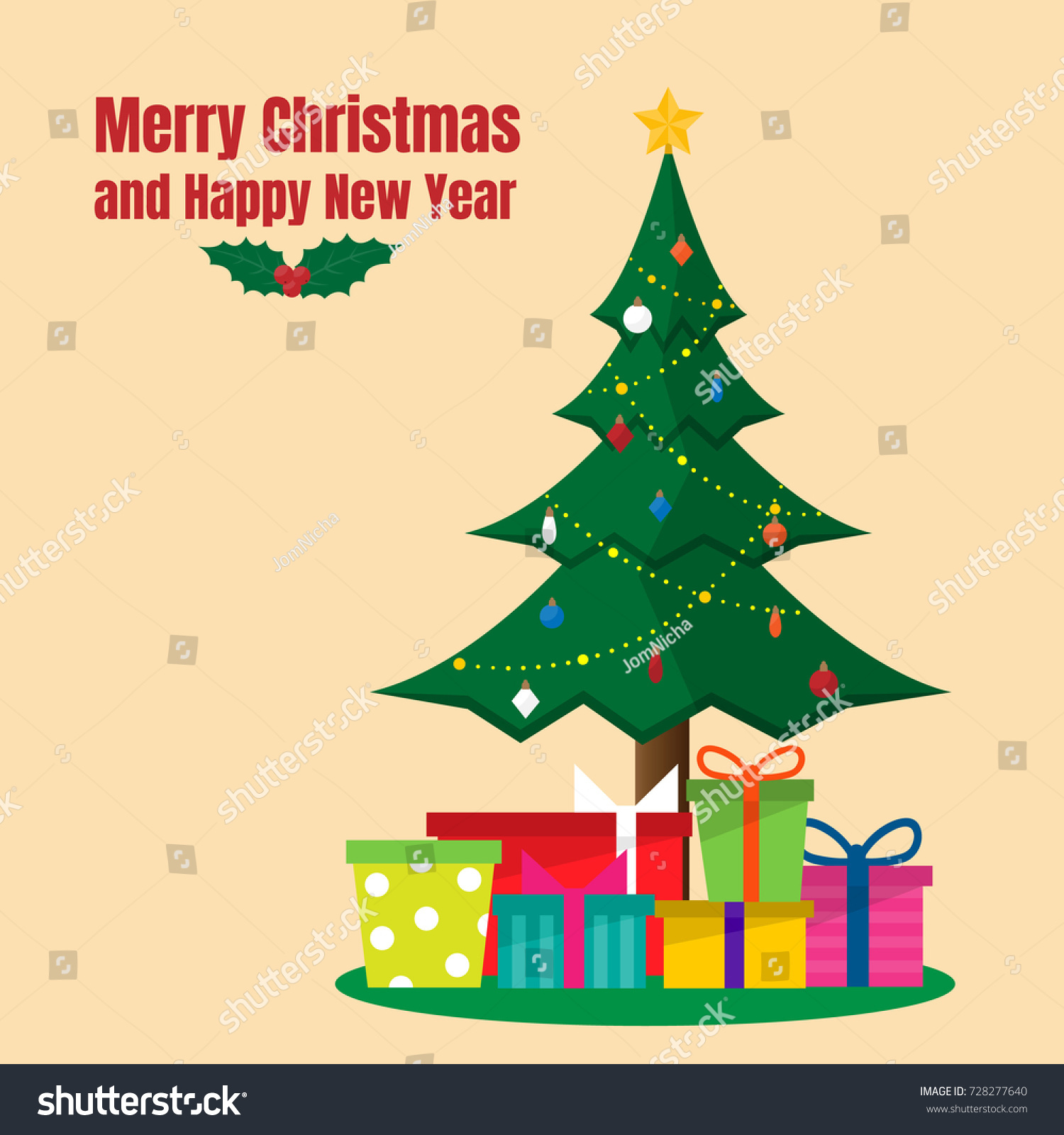 Christmas Tree Colorful Present Boxes Stock Vector 728277640 ...