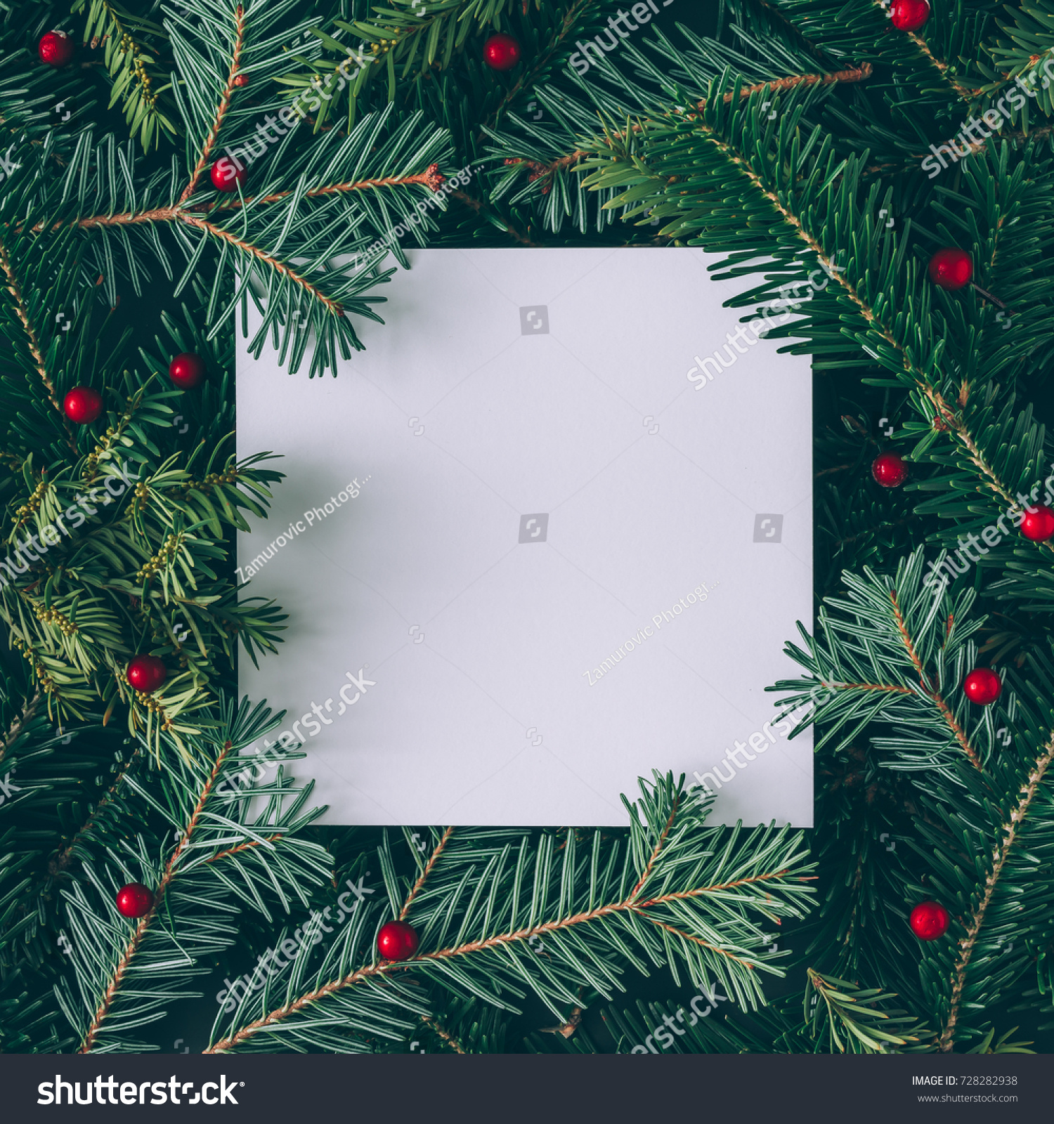 Creative layout made of Christmas tree branches with paper card note. Flat lay. Nature New Year concept. #728282938