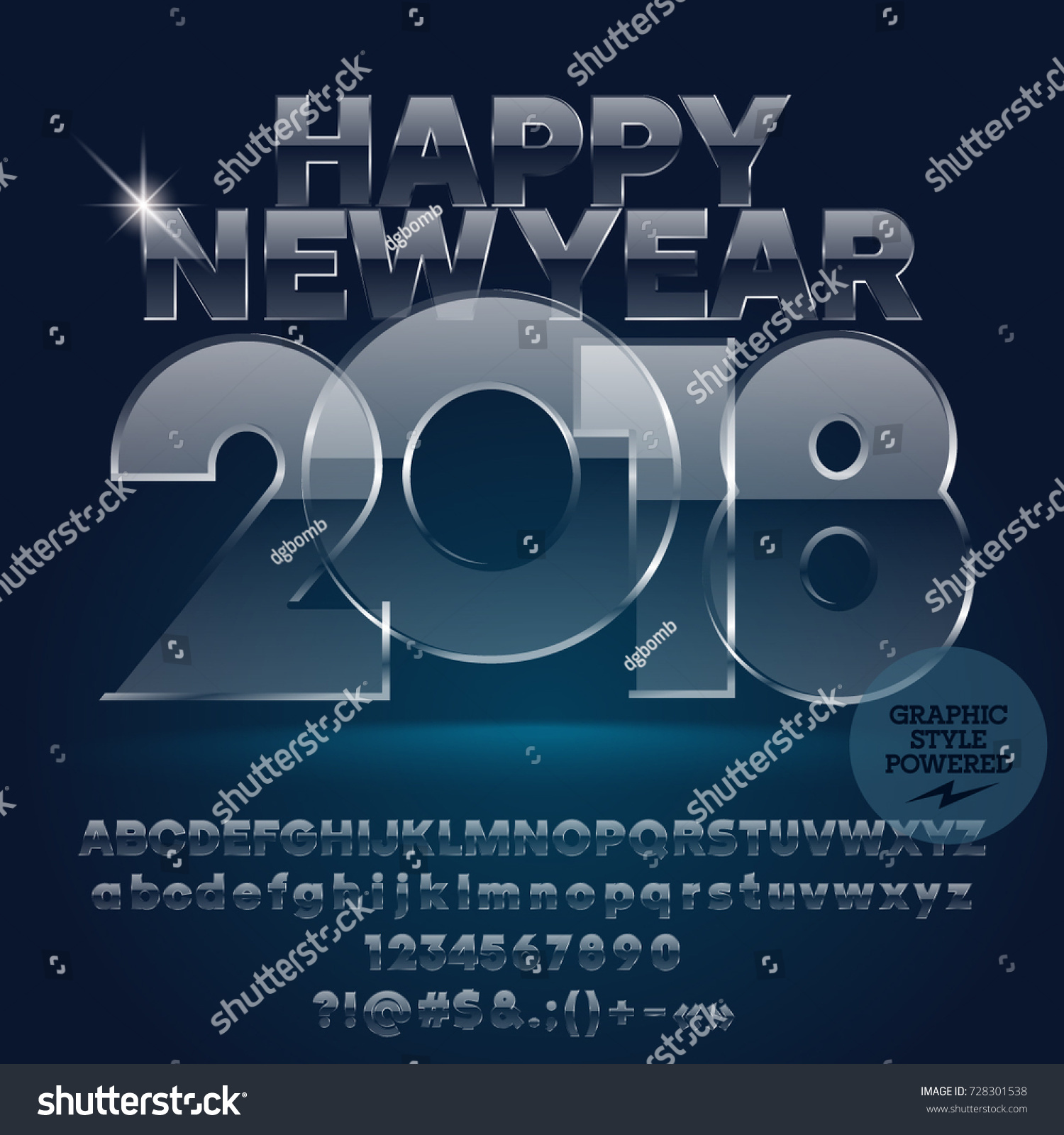 Vector Glass Happy New Year 2018 Stock Vector 2018 728301538