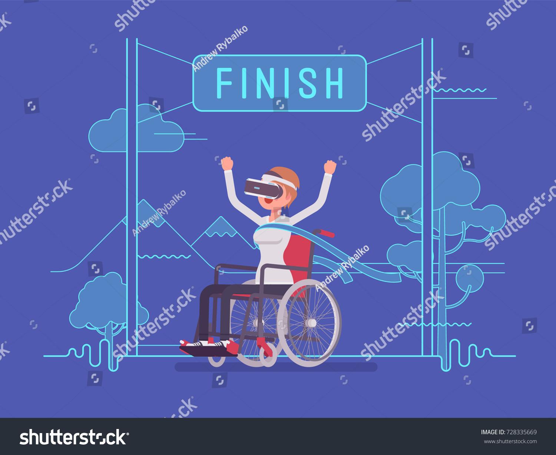 Vr Woman Woman Wheelchair User Winning Stock Vector (Royalty Free